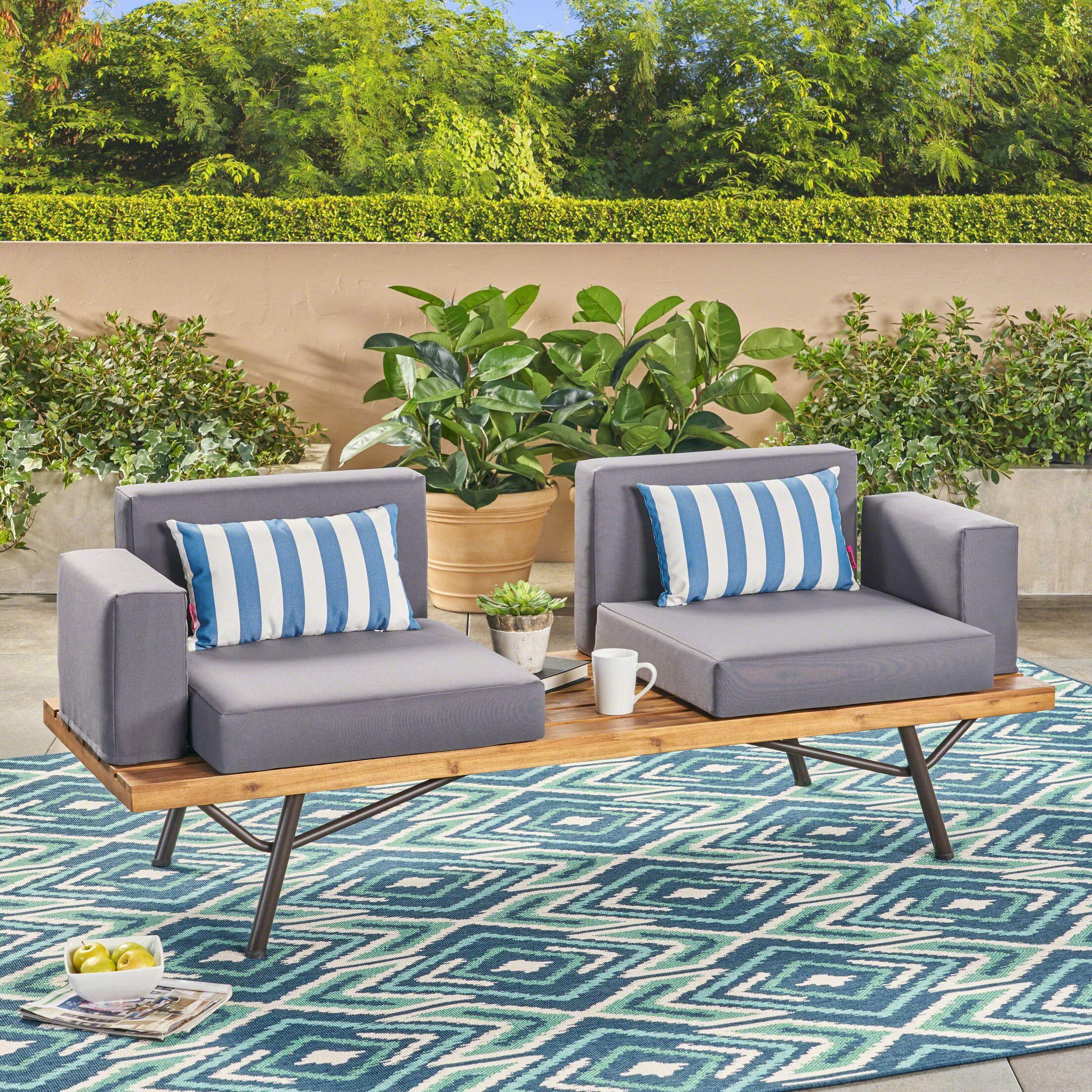 Ambrosina Teak Patio Sofa with Cushions