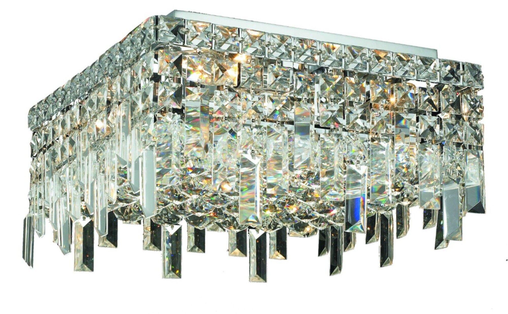 Bratton 4-Light 60W Semi Flush Mount Crystal Grade: Elegant Cut