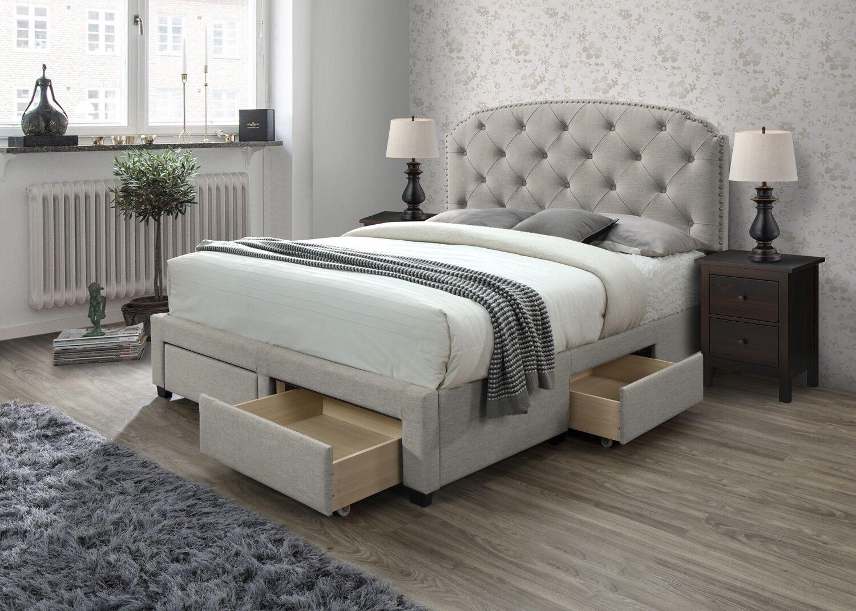 Darcie Upholstered Storage Panel Bed Size: King, Color: Beige