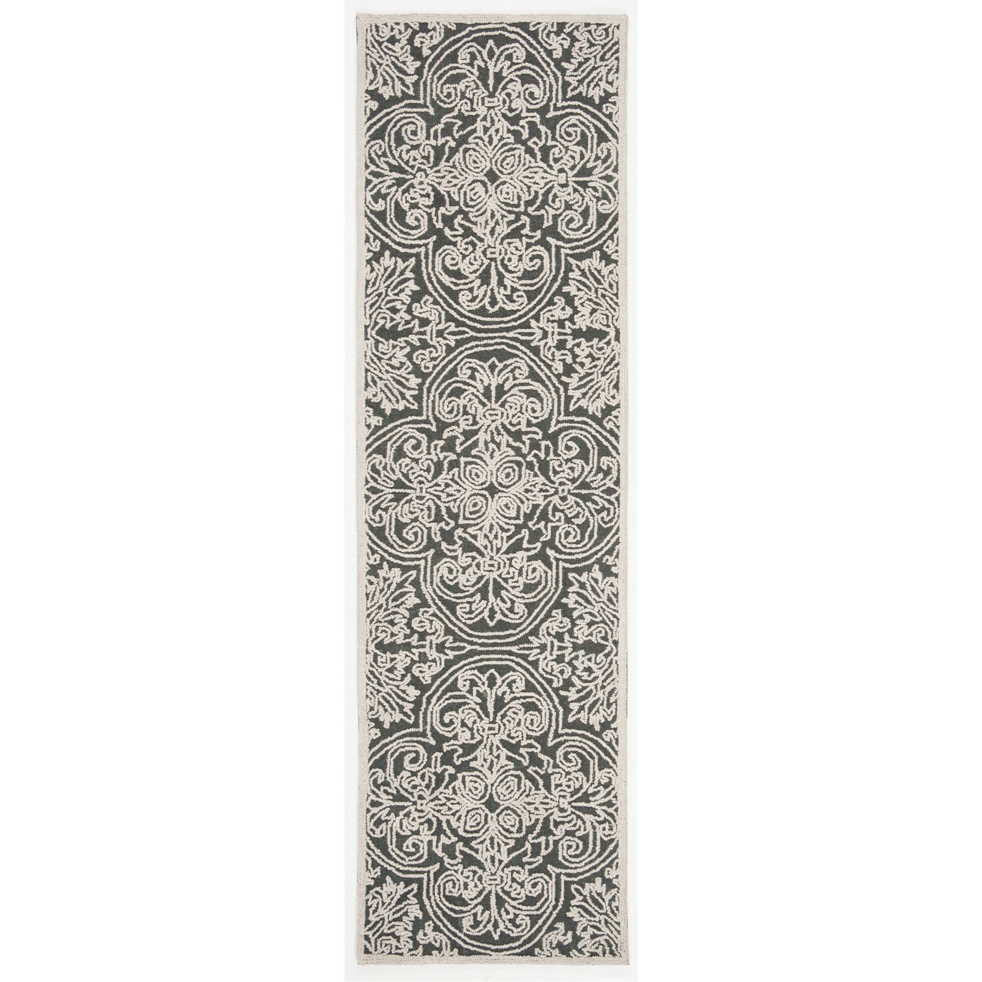 Marys Hand Tufted Wool Dark Gray Area Rug Rug Size: Runner 2'3