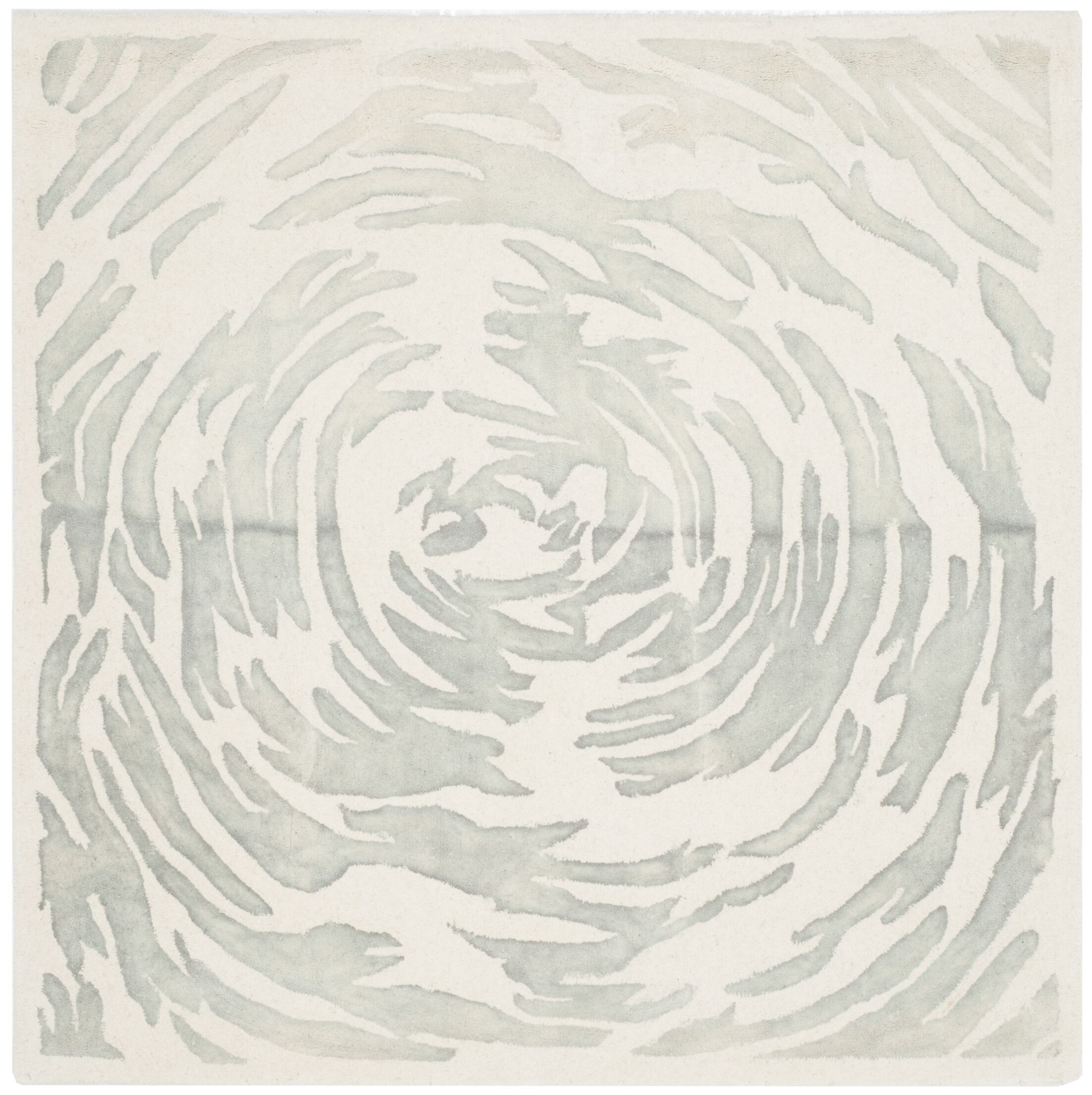 Adan Hand-Tufted Ivory/Grey Area Rug Rug Size: Square 5'