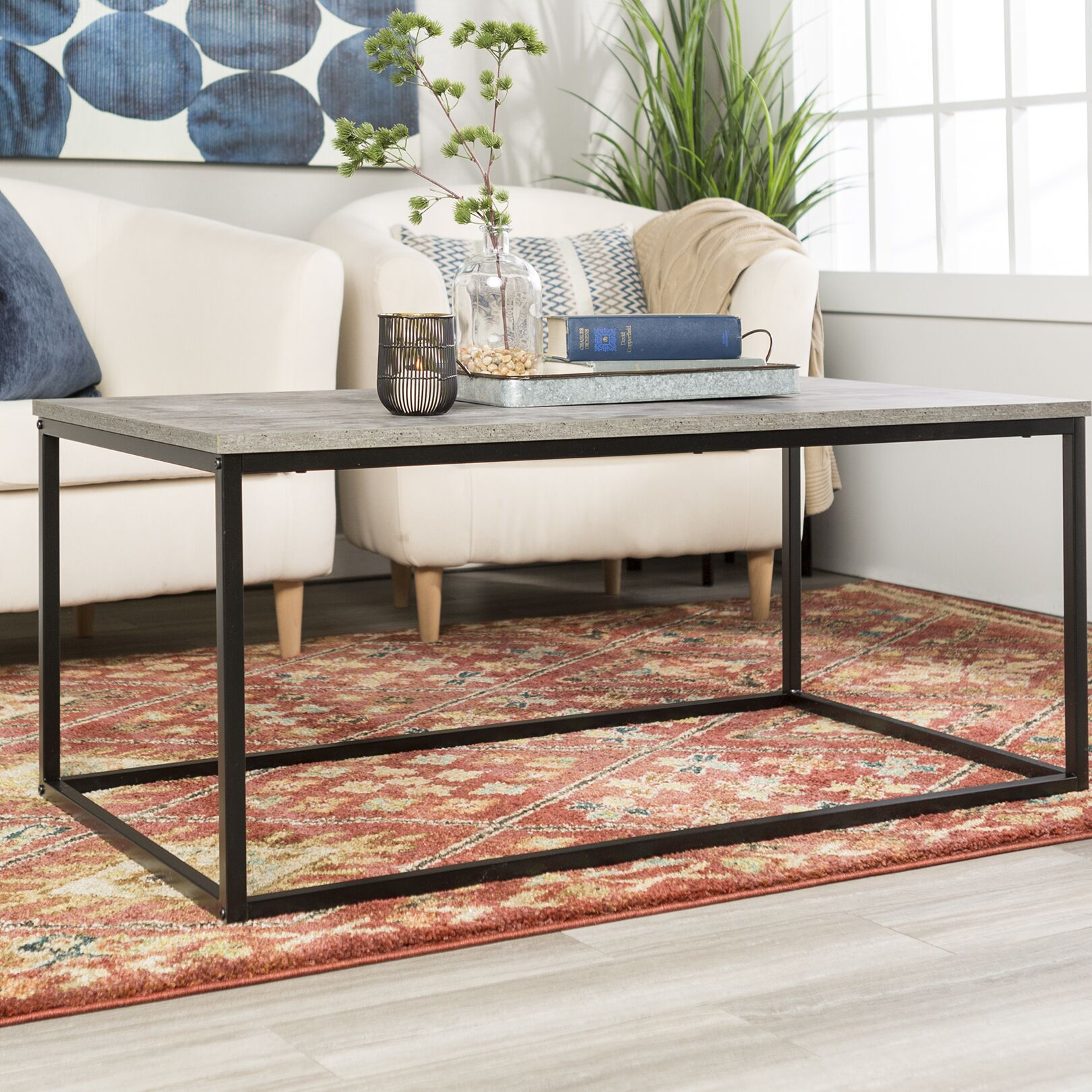 Arianna Coffee Table Table Top Color: Dark Concrete