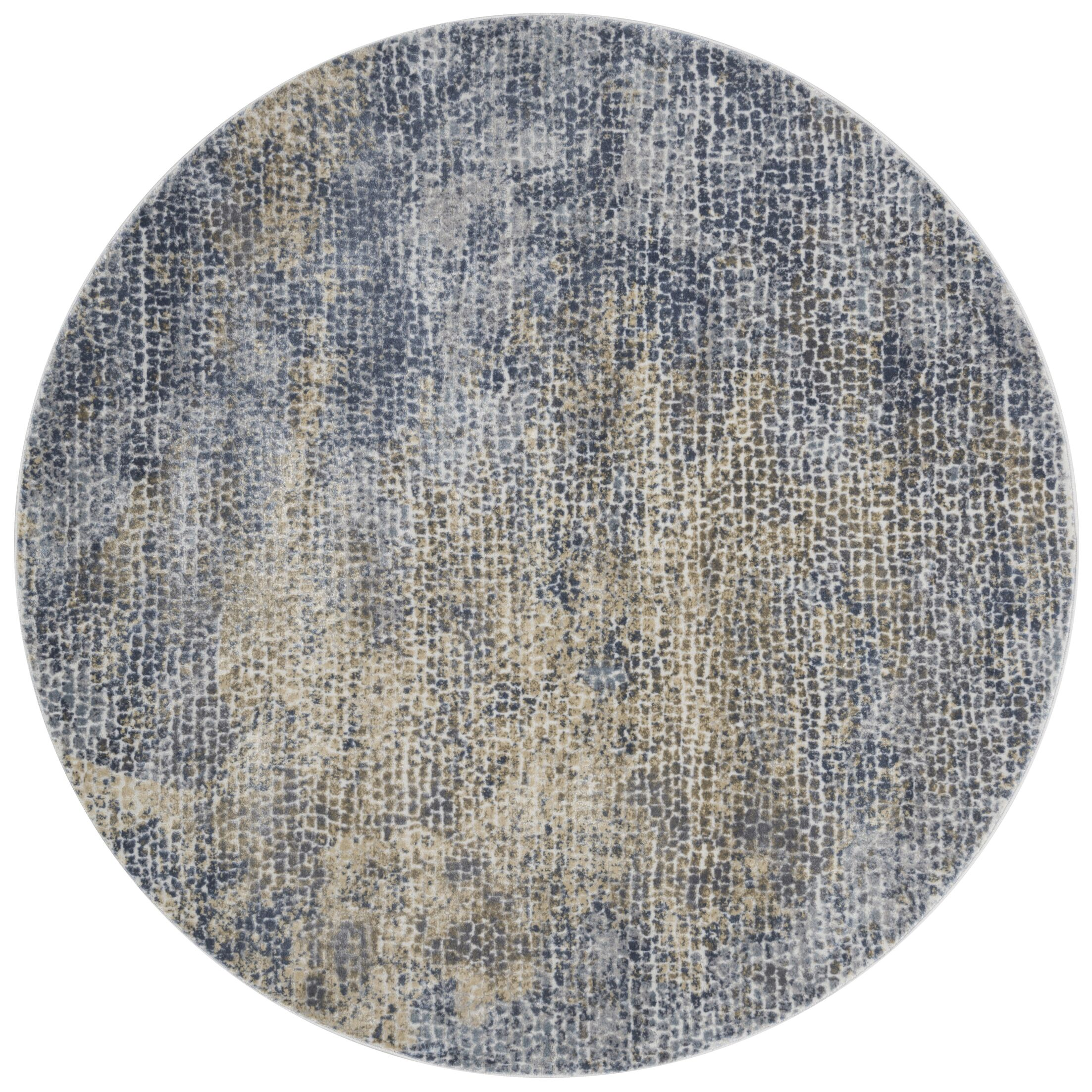 Bouton Ocean/Gold Area Rug Rug Size: Round 5'3