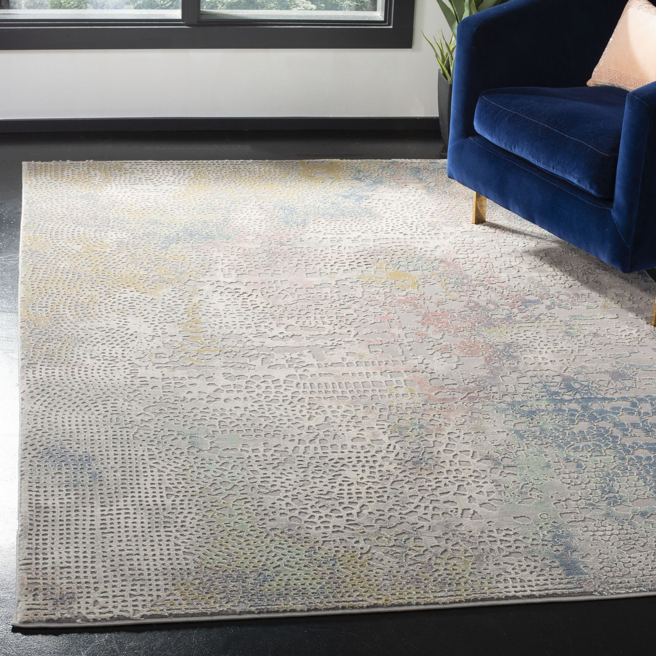 Wendi Gray/Gold Area Rug Rug Size: Rectangle 5'3