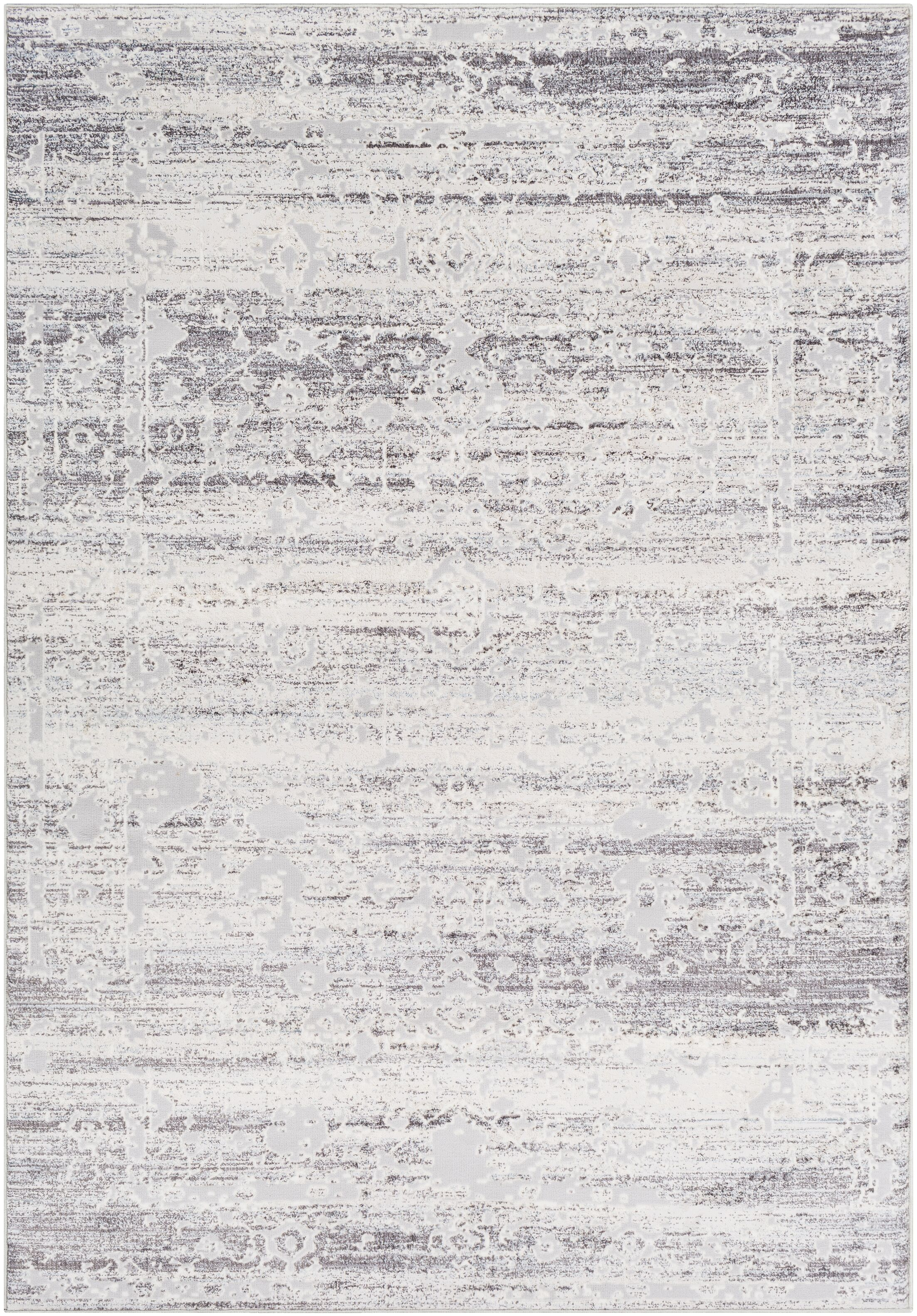 Heger Distressed Silver Gray/White Area Rug Rug Size: Rectangle 5'3