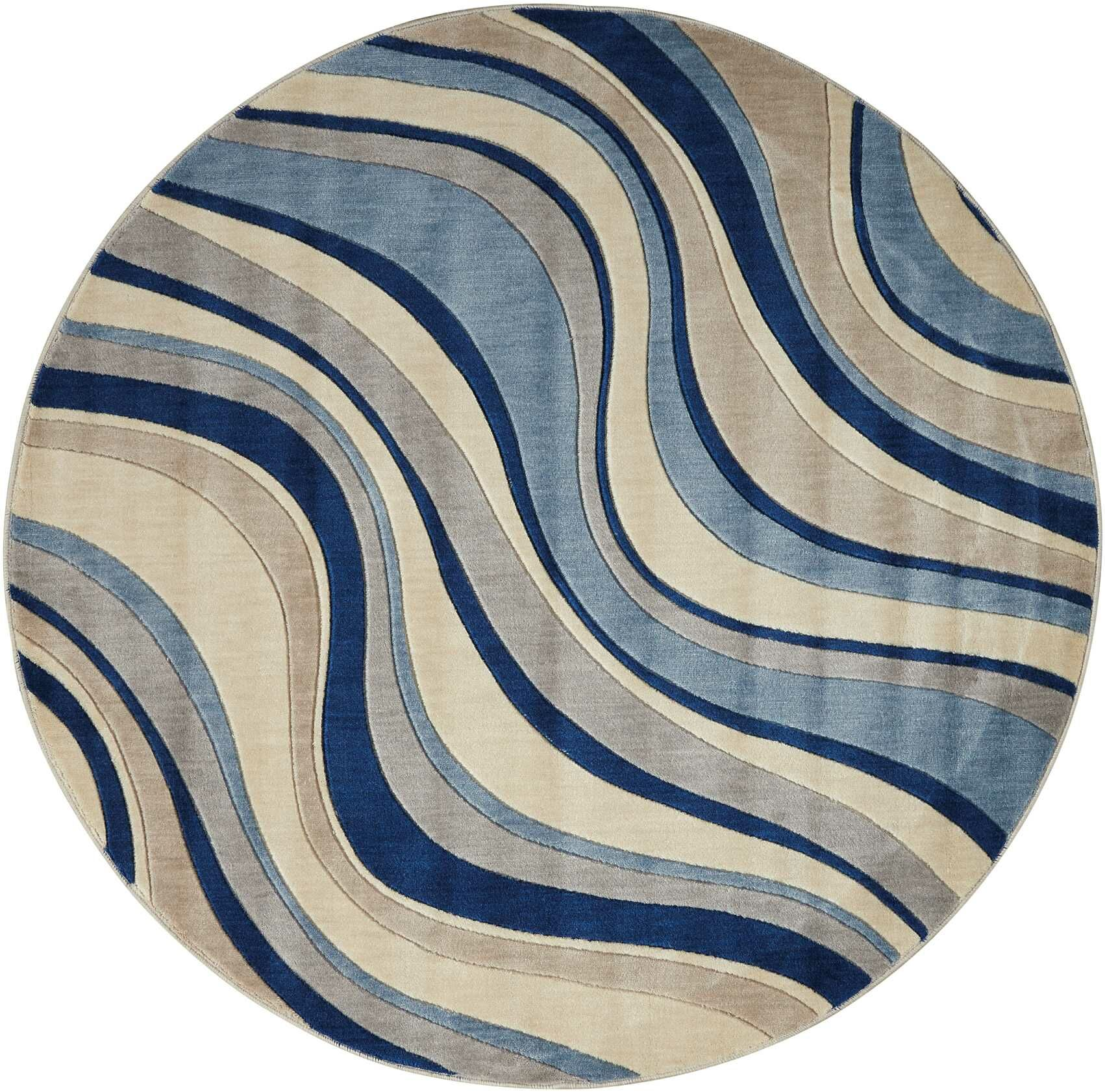 Cherell Ivory/Blue Area Rug Rug Size: Round 5'6