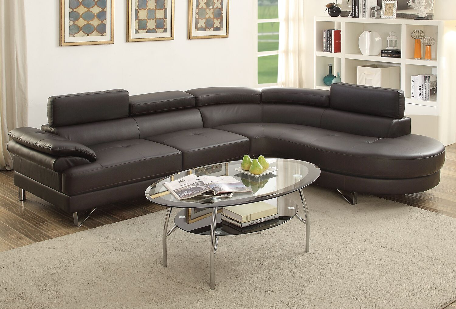 Longworth Sectional Upholstery: Espresso