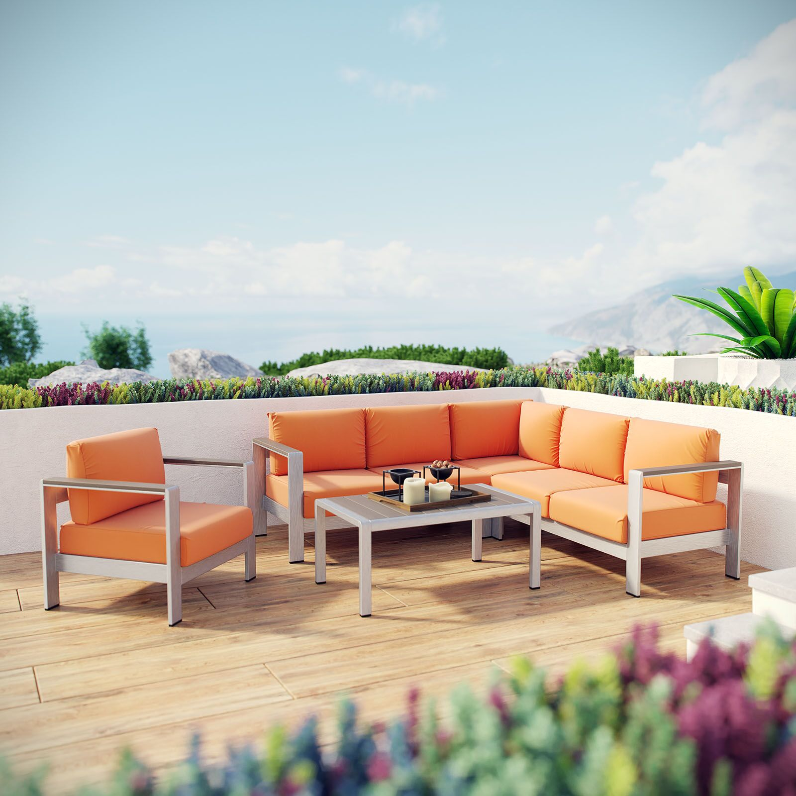 Coline 5 Piece Sectional Seating with Cushions Fabric: Orange