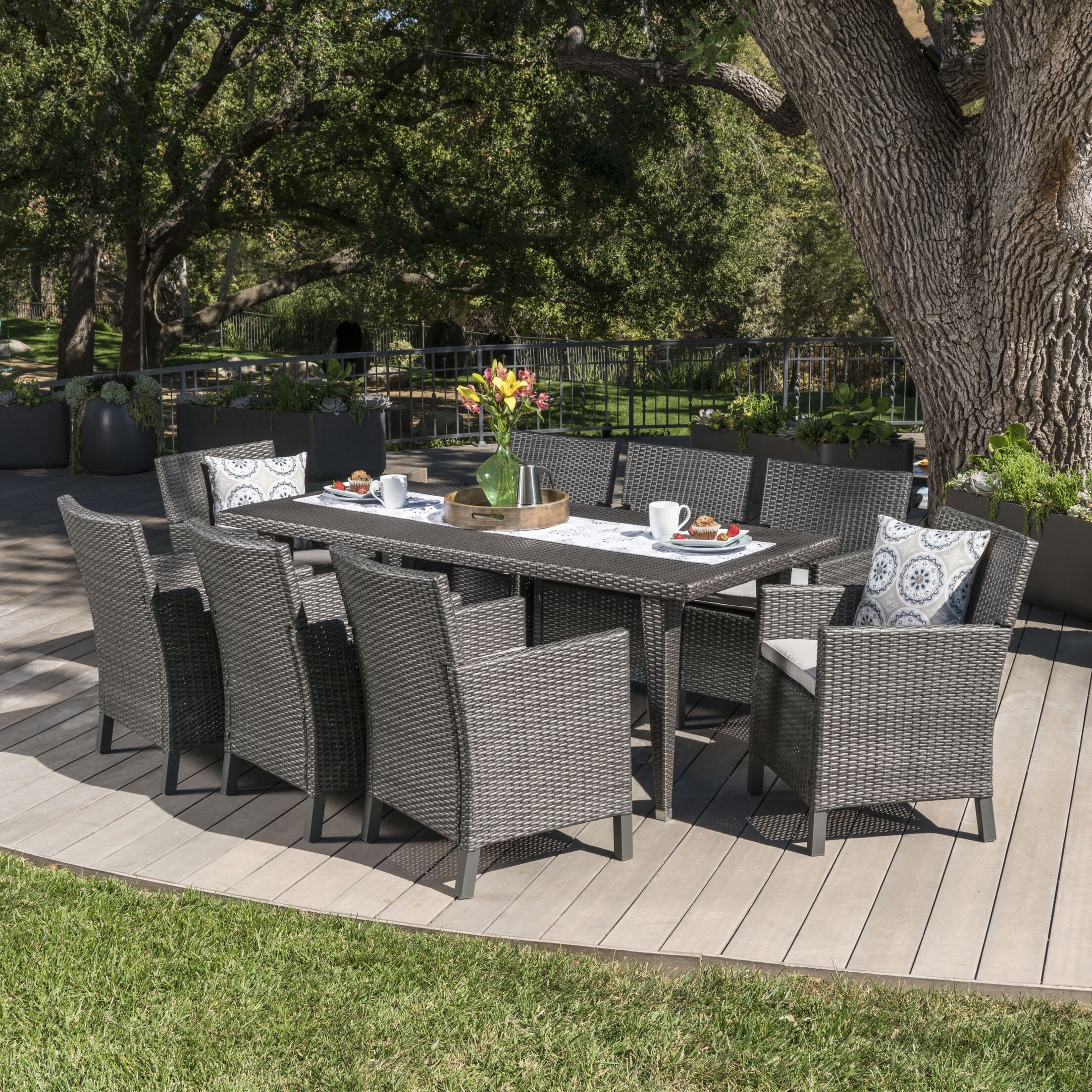 Luebke 9 Piece Dining Set with Cushions Color: Gray, Cushion Color: Light Gray