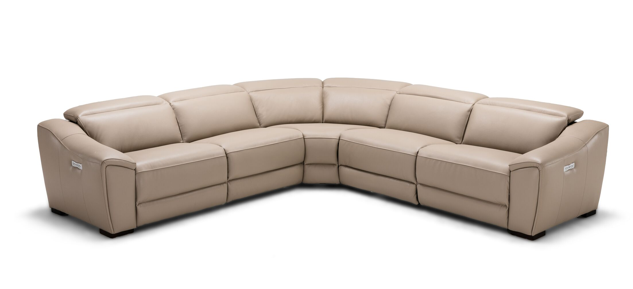 Ozzy Motion Leather Sectional Upholstery: Tan