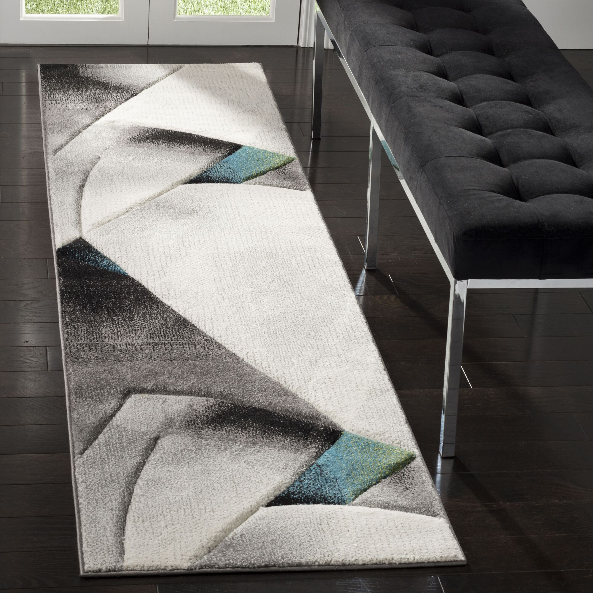 Anne Abstract Power Loomed Gray/Teal Area Rug Rug Size: Runner 2'2