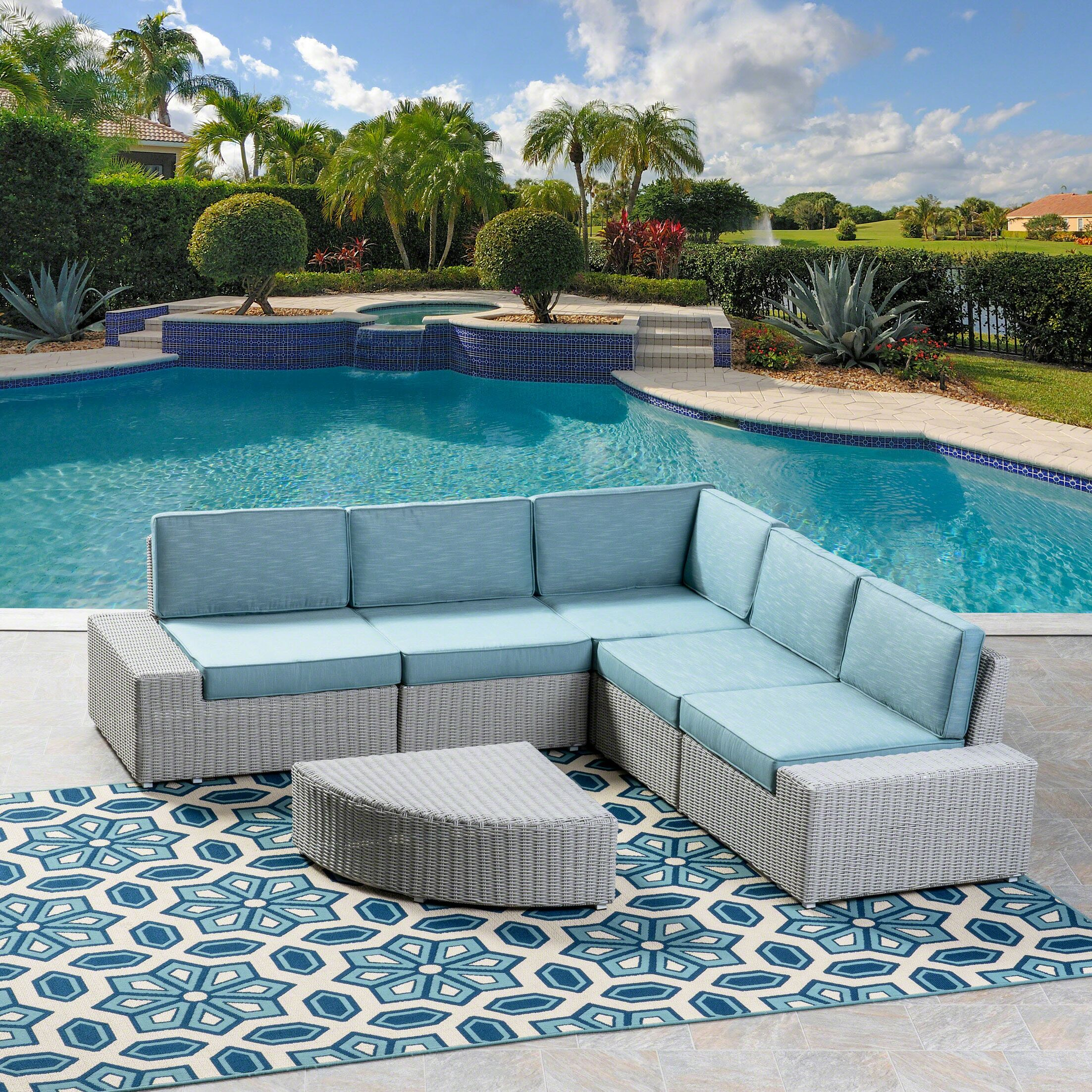 Kerr 5 Piece Rattan Sectional Set with Cushions Cushion Color: Teal