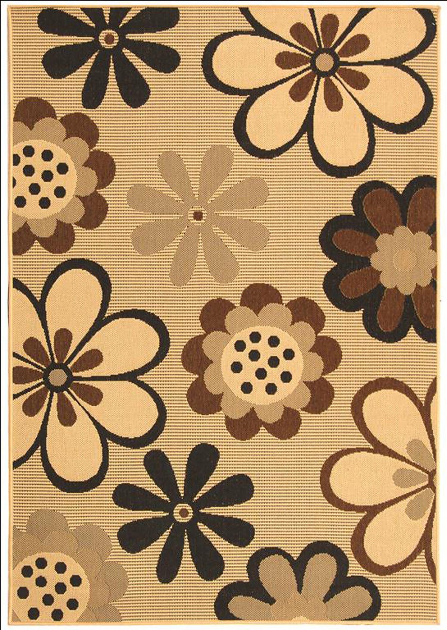 Short Natural Brown/Black Rug Rug Size: Rectangle 5'3