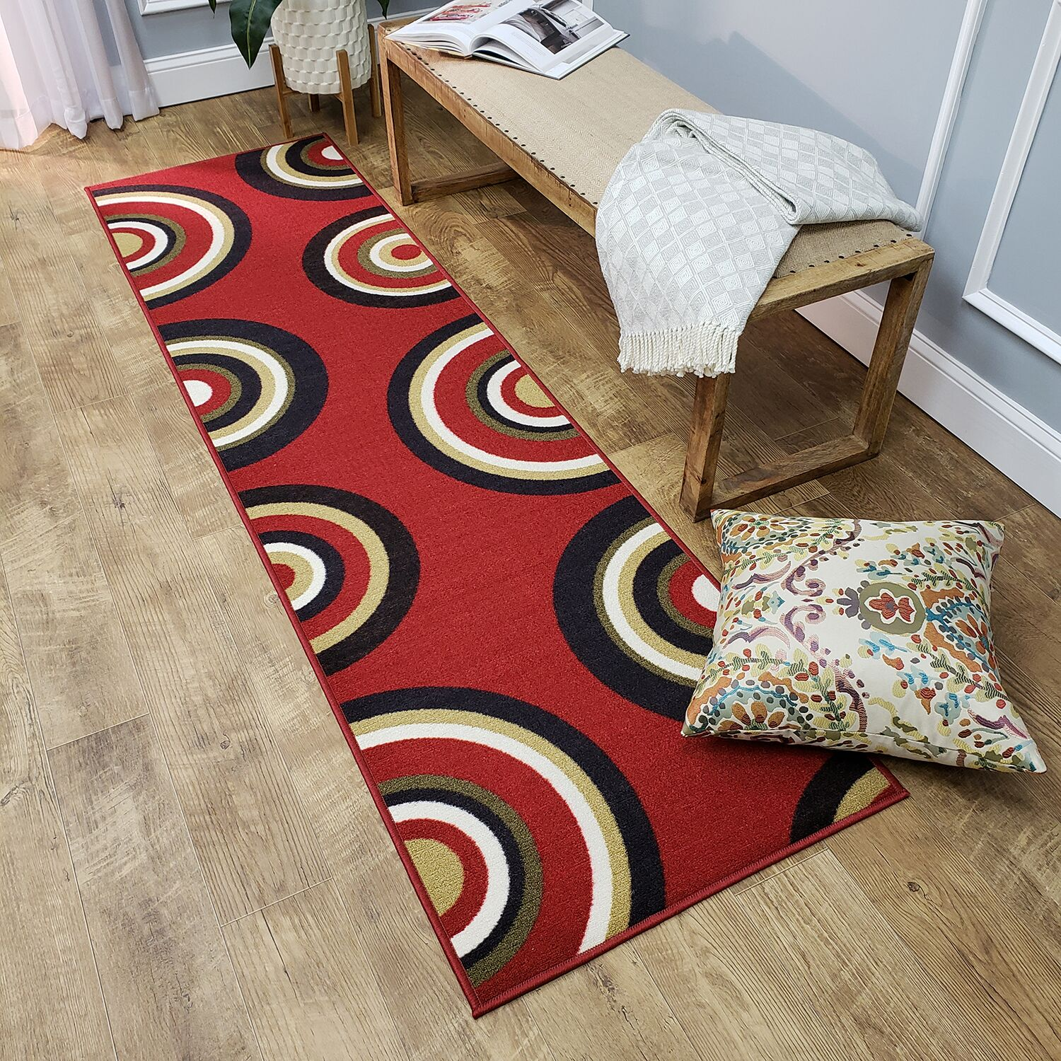 Hinnenkamp Geometric Circles Red Area Rug Rug Size: Rectangle 8'2