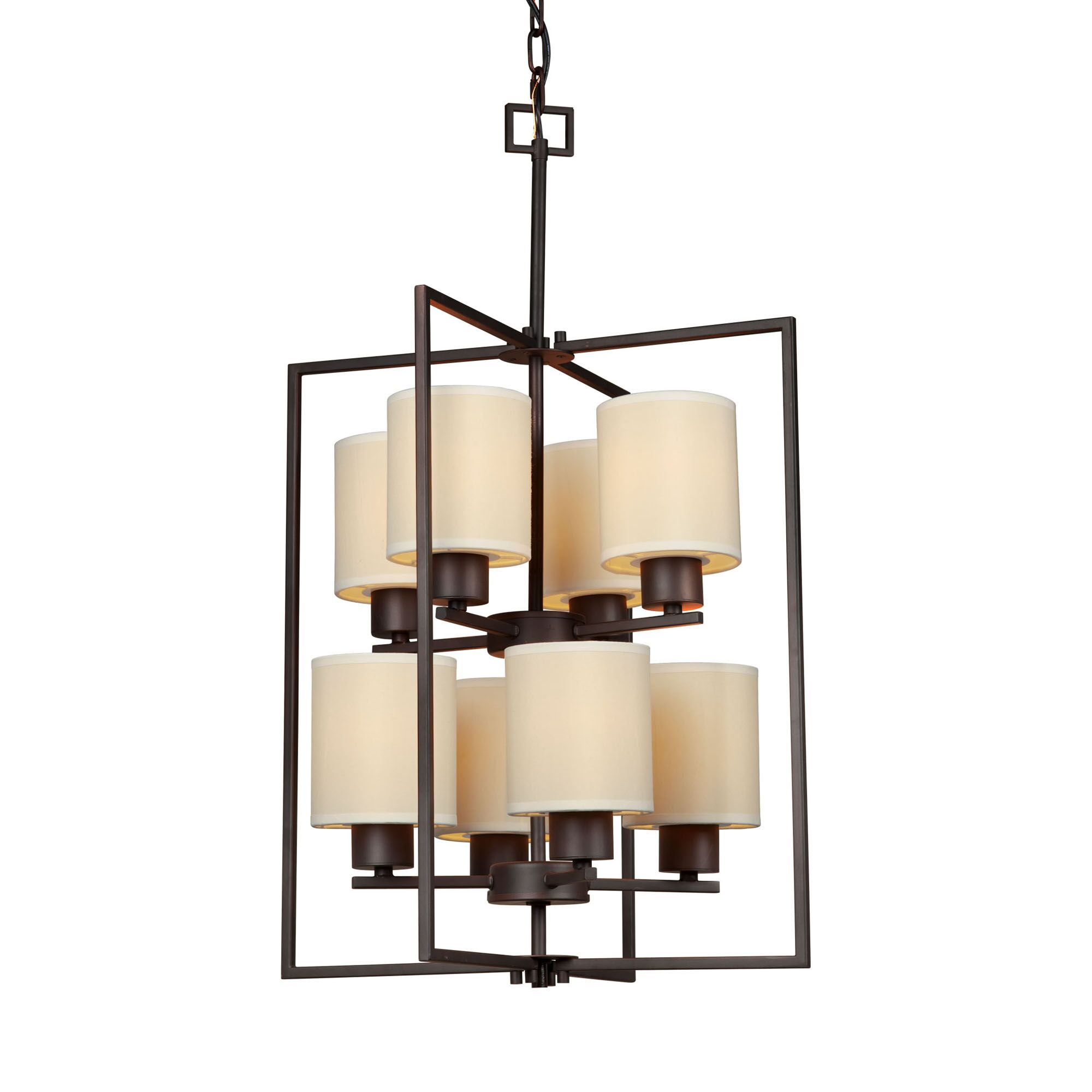 Features: -Material: Steel.-Fixture Design: Shaded Chandelier.-Number of Lights: 8.-Number of Tiers: 2.-Light Direction: Ambient.-Finish: Antique Bronze.-Style: Modern & Contemporary.-Shade Included: Yes -Shade Color: Cream.-Shade Material: Fabric..-P...
