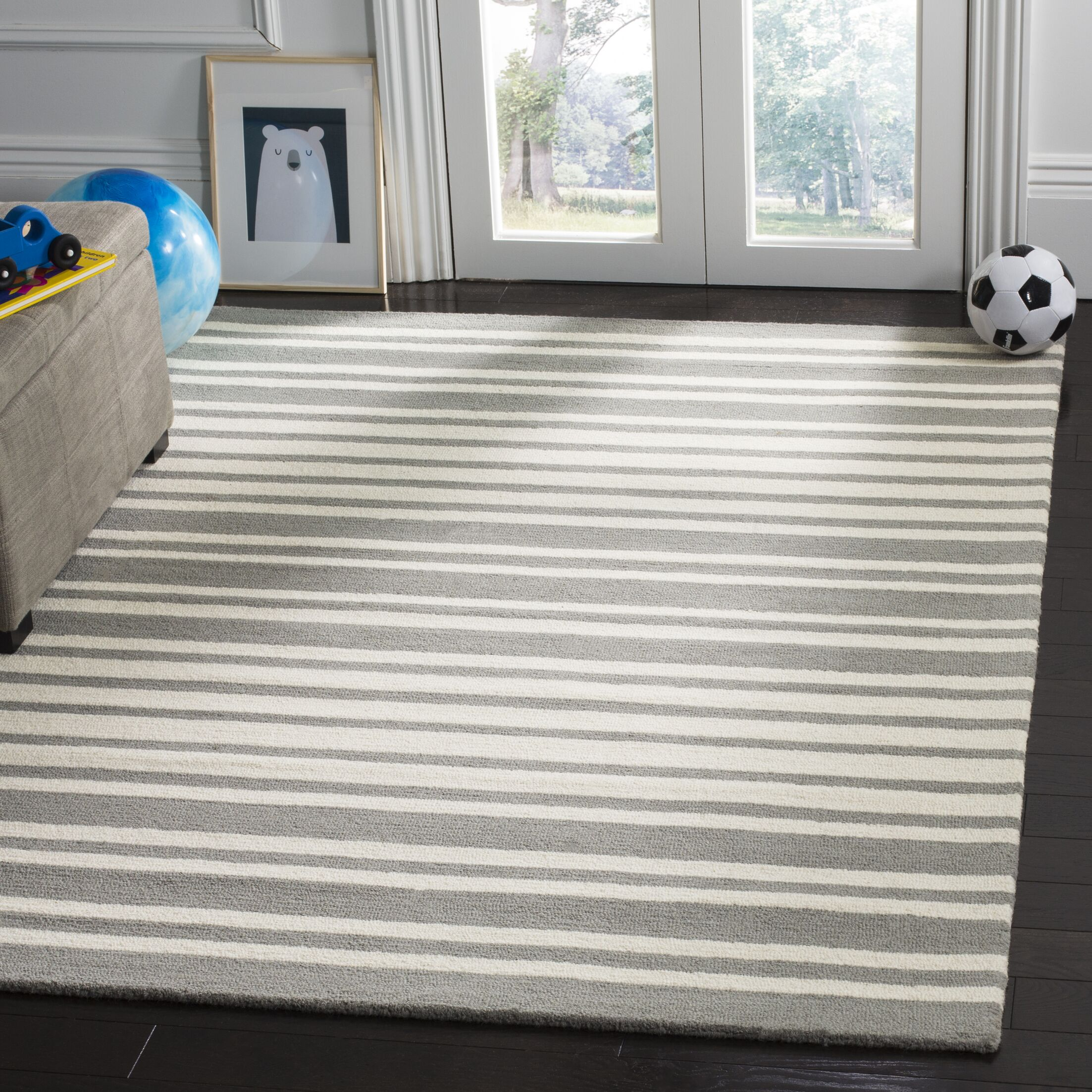 Brenner Barcode Hand-Tufted Gray Area Rug Rug Size: Rectangle 4' x 6'