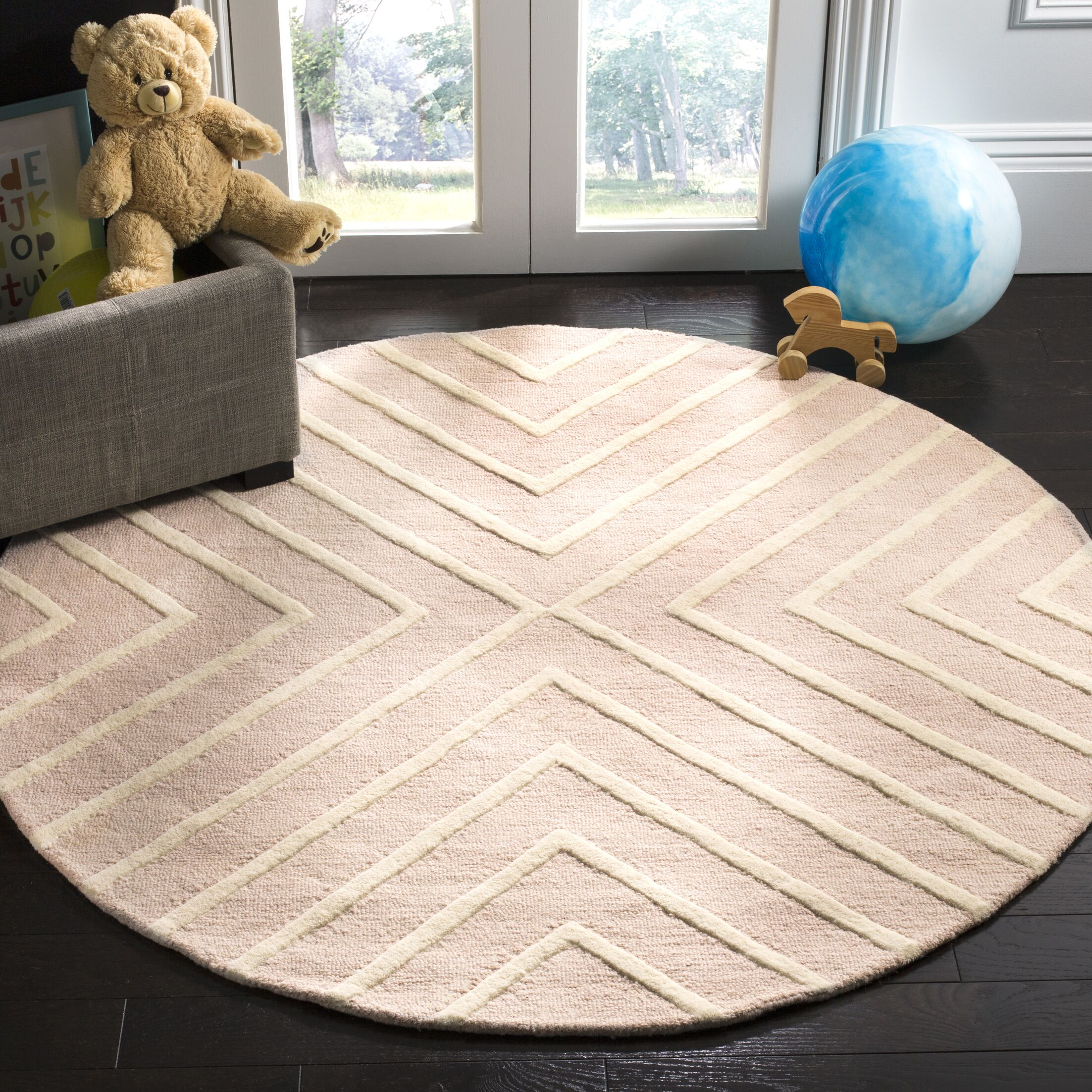 Claro X Pattern Hand-Tufted Pink/Ivory Area Rug Rug Size: Round 5'