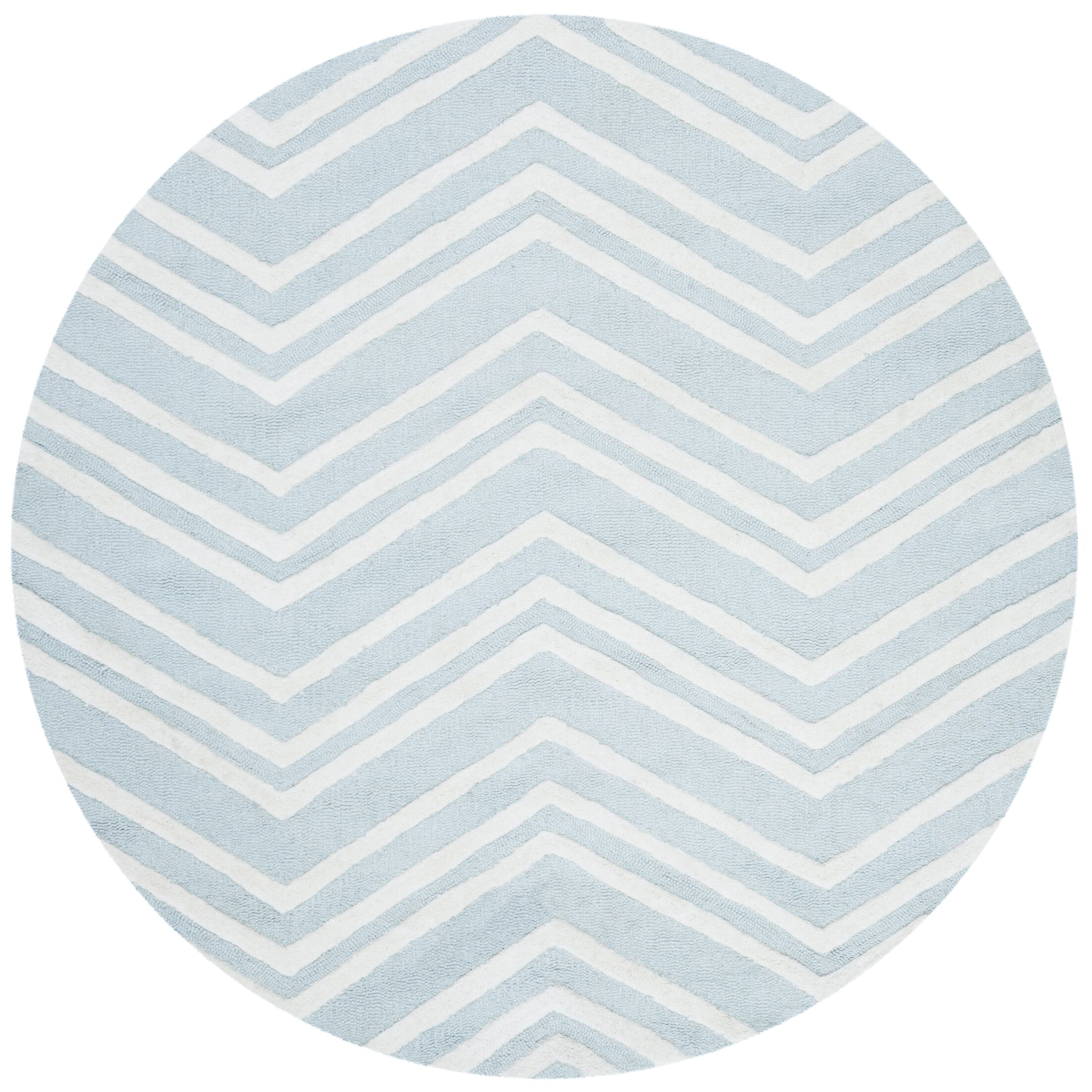Claro Wave Hand-Tufted Mint/Ivory Area Rug Rug Size: Round 5'