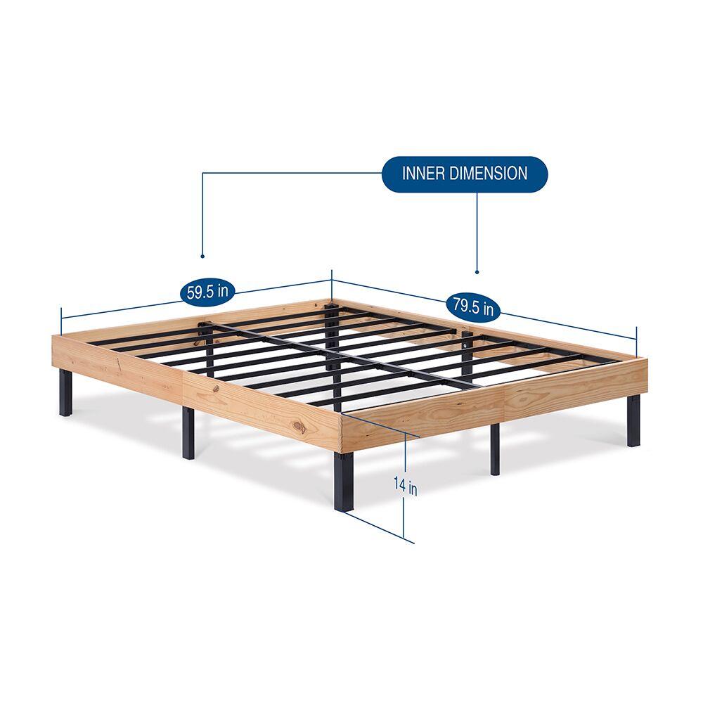 Classic Soild Wood Platform Bed Frame Color: Natural, Size: Queen