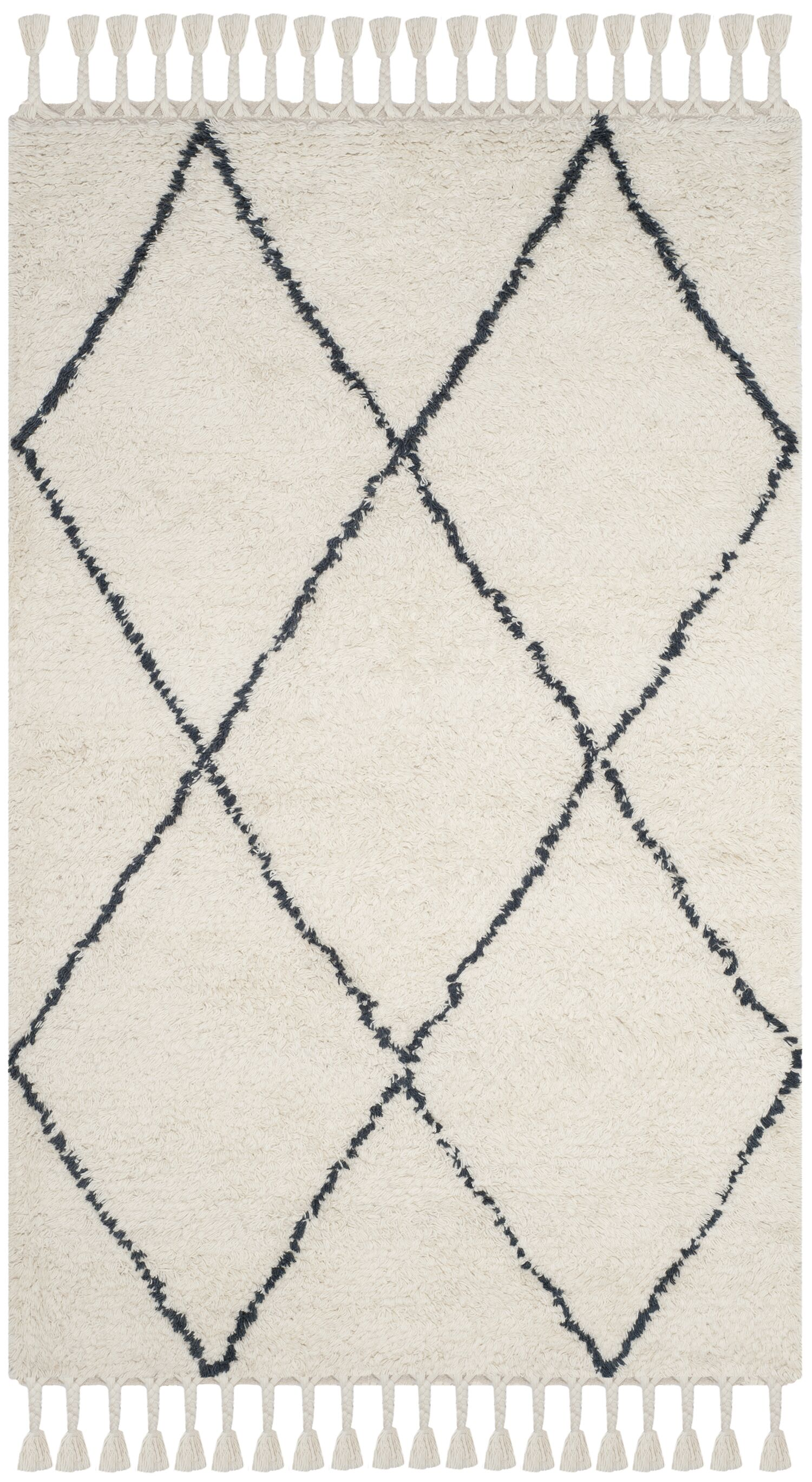 Lockheart Hand-Tufted Beige/Black Area Rug Rug Size: Rectangle 5' x 8'