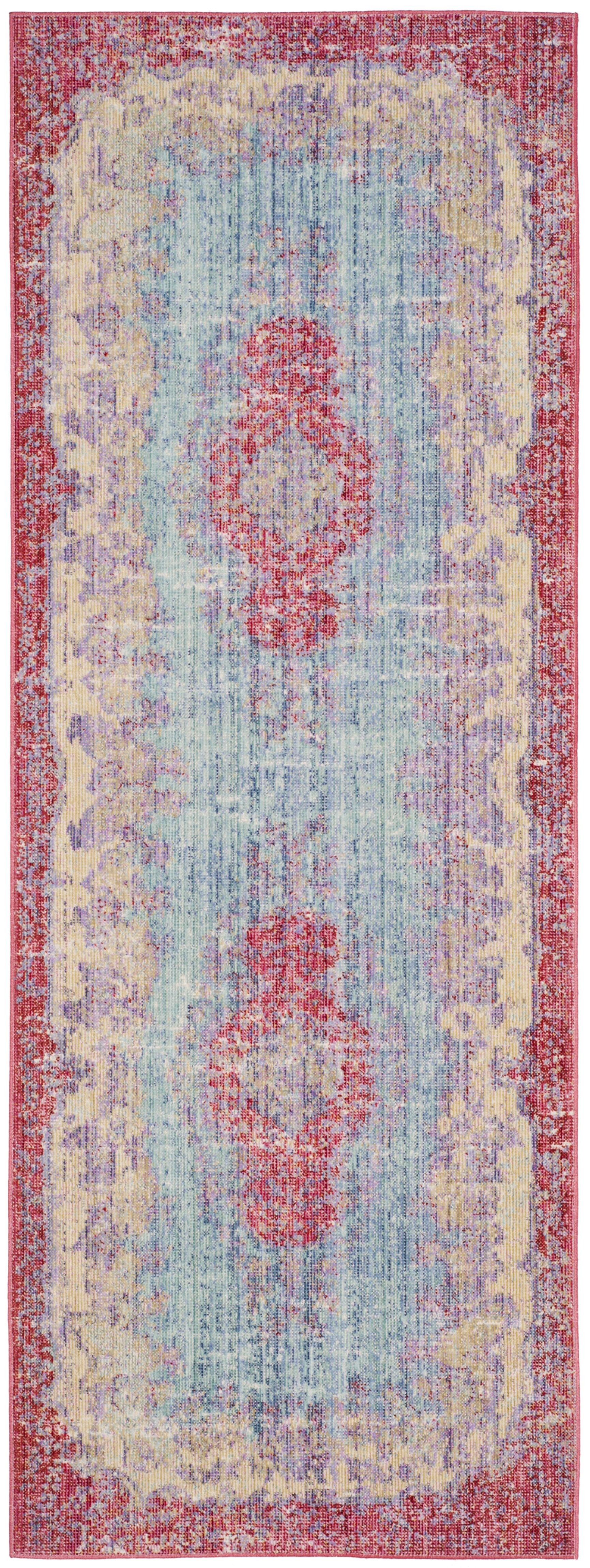 Bangou Light Blue/Fuchsia Area Rug Rug Size: Runner 3' x 10'