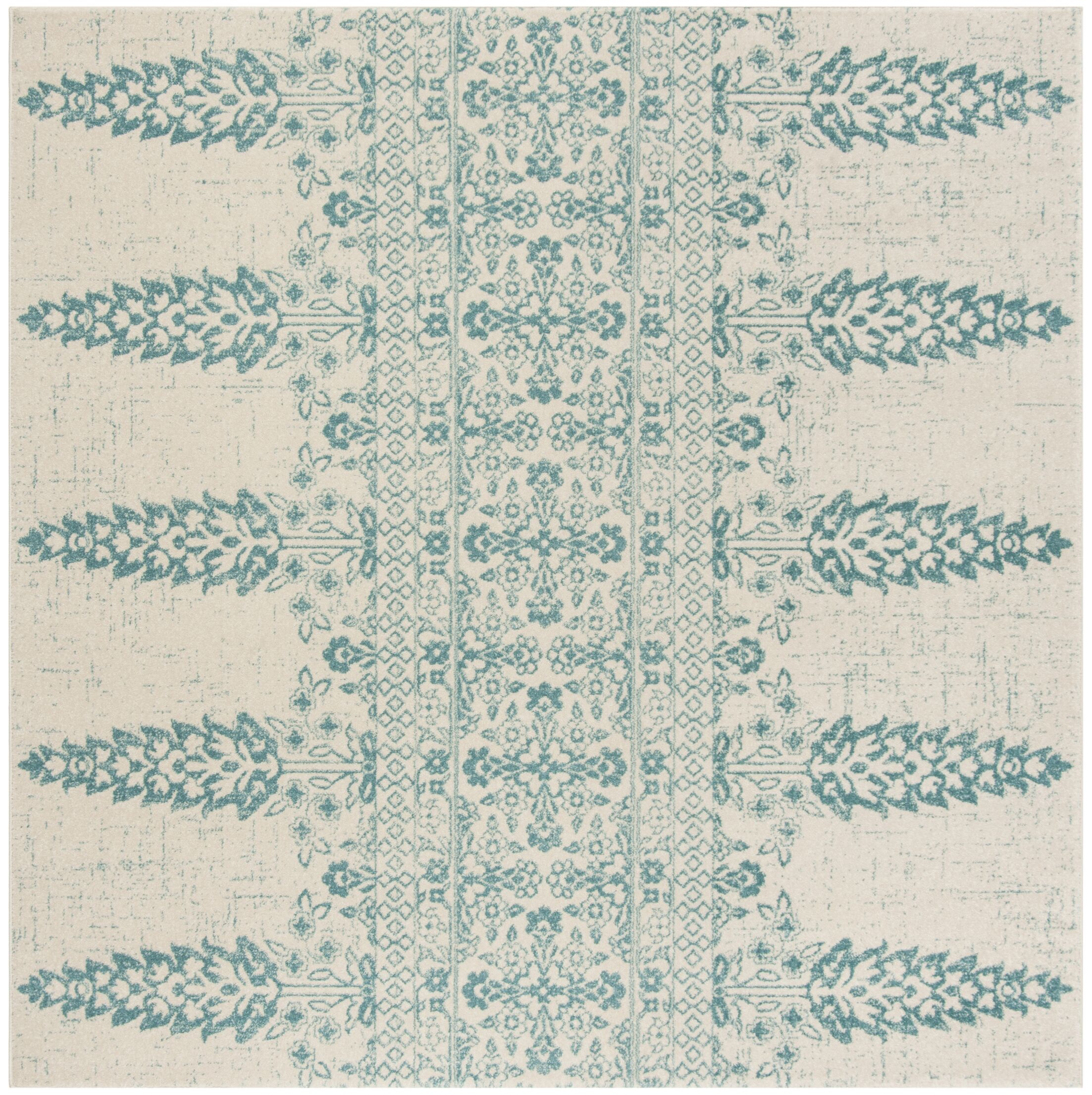Elson Ivory/Teal Area Rug Rug Size: Square 6'7