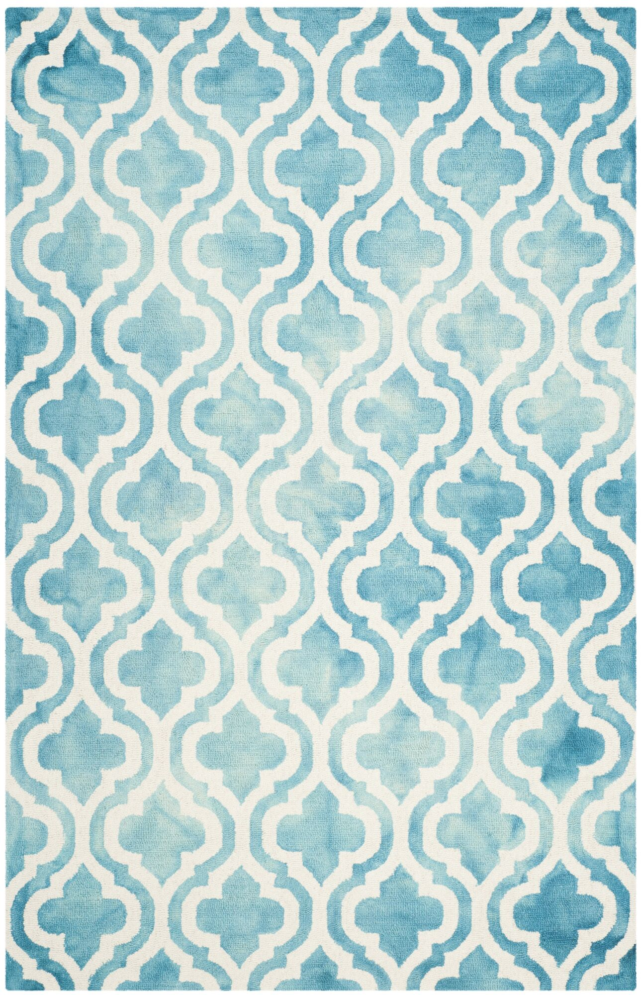 Bettina Hand-Tufted Turquoise/Ivory Area Rug Rug Size: Rectangle 5' x 8'
