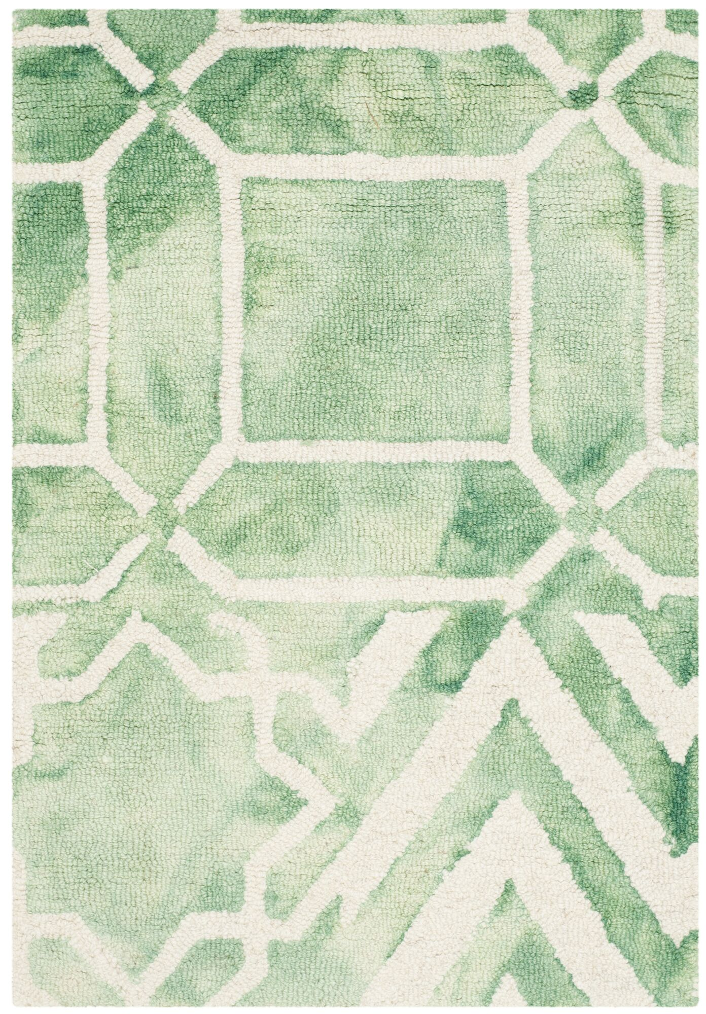 Landry Hand-Tufted Green/Ivory Area Rug Rug Size: Rectangle 2' x 3'