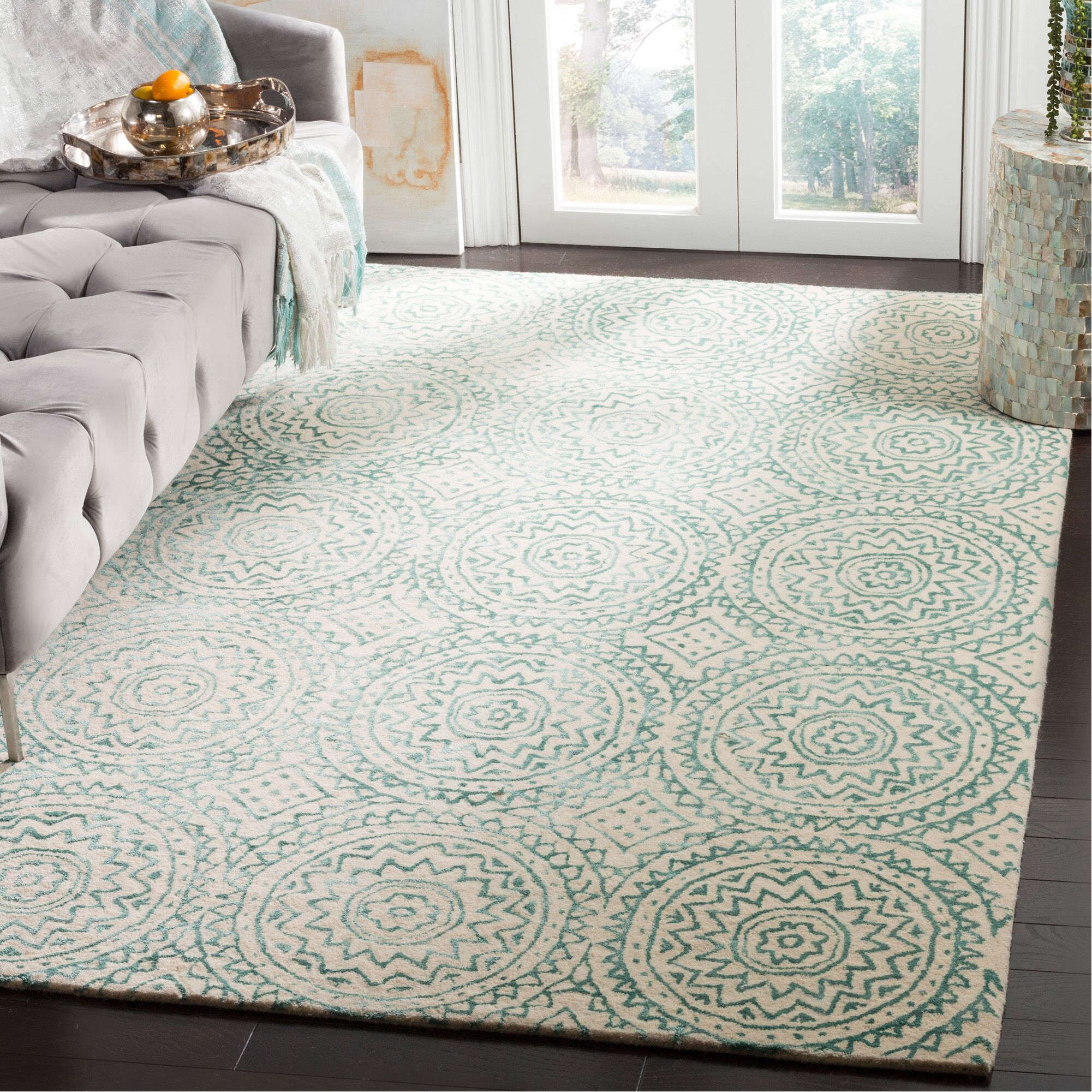 Rudra Hand-Tufted Beige/Green Area Rug Rug Size: Rectangle 5' x 8'
