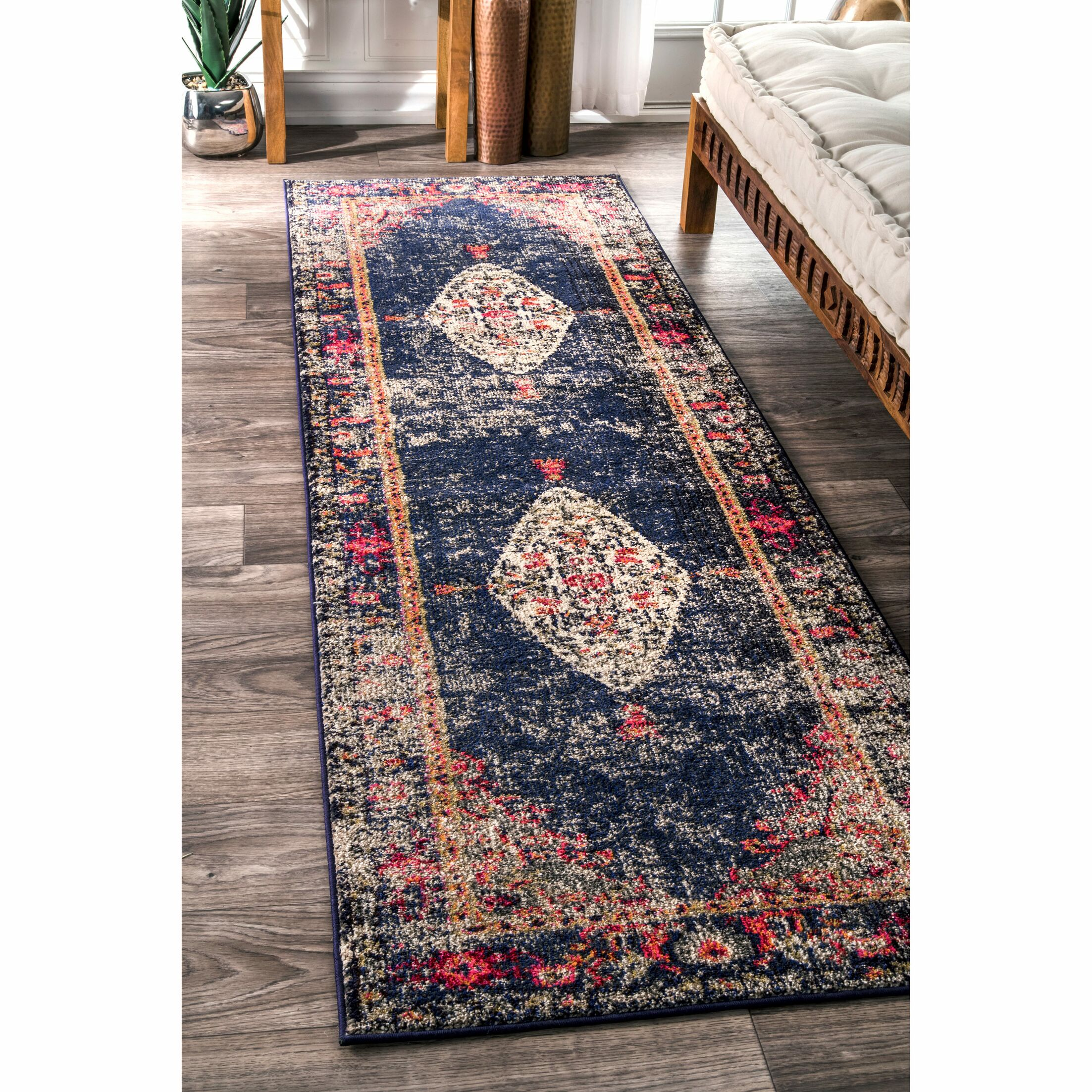 Paradiso Navy Area Rug Rug Size: Runner 2'6