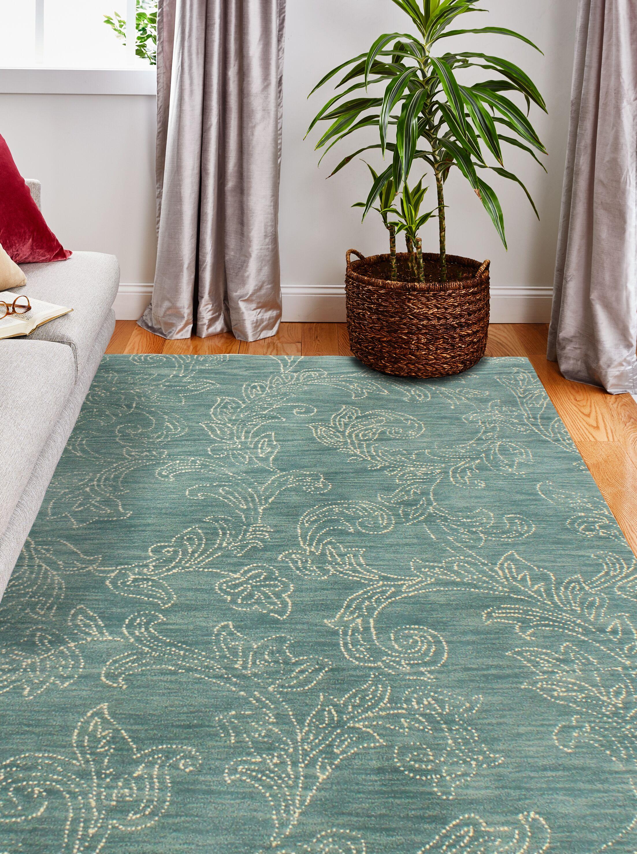 Kory Hand-Tufted Wool Teal Area Rug Rug Size: 8'6