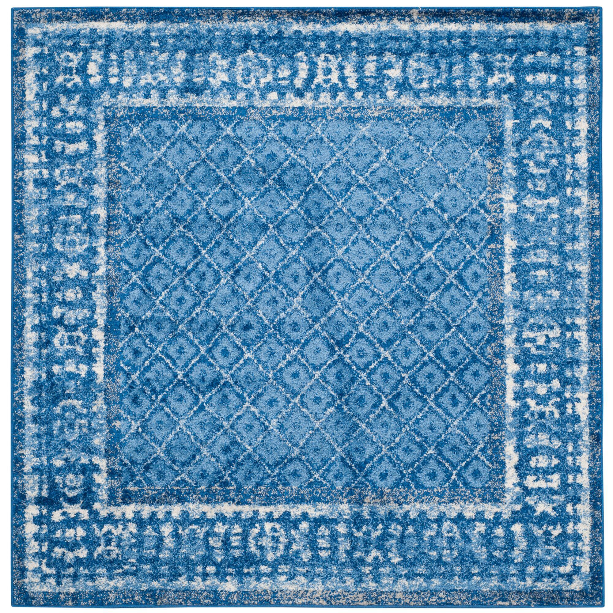 Eugenia Light Blue/Dark Blue Area Rug Rug Size: Square 6'