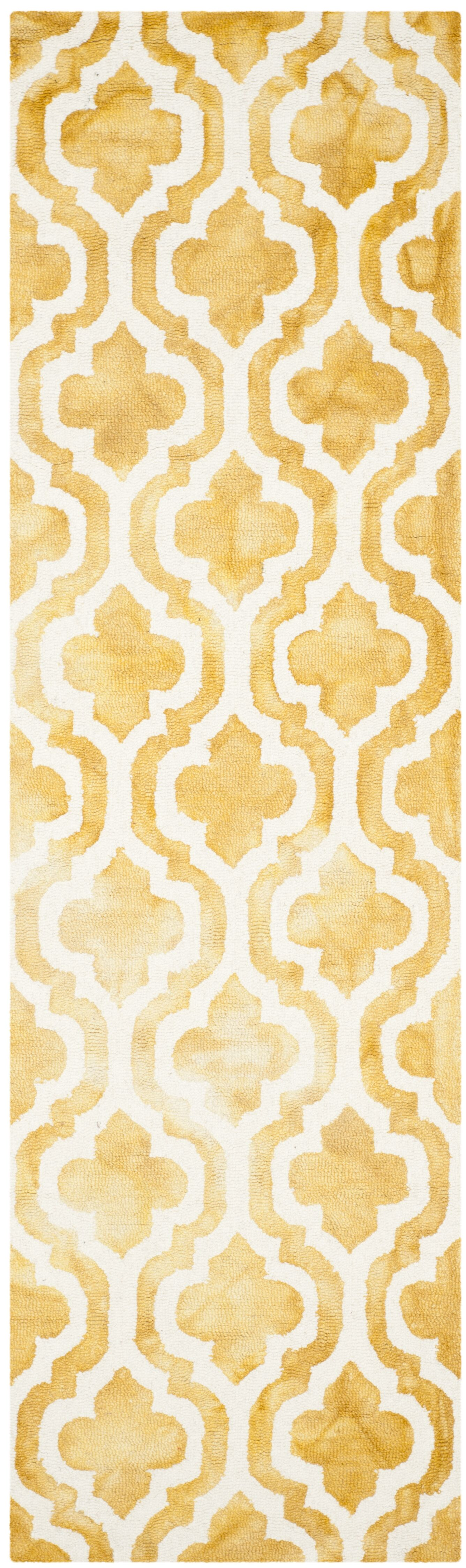 Merseles Hand-Tufted Gold/Ivory Area Rug Rug Size: Runner 2'3