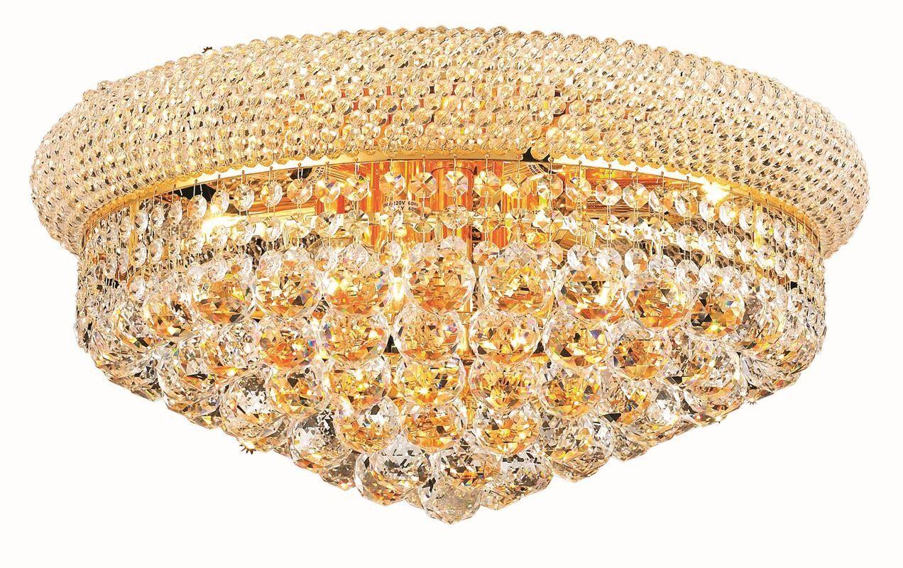 Jessenia 10-Light Flush Mount Finish: Gold, Crystal Grade: Elegant Cut