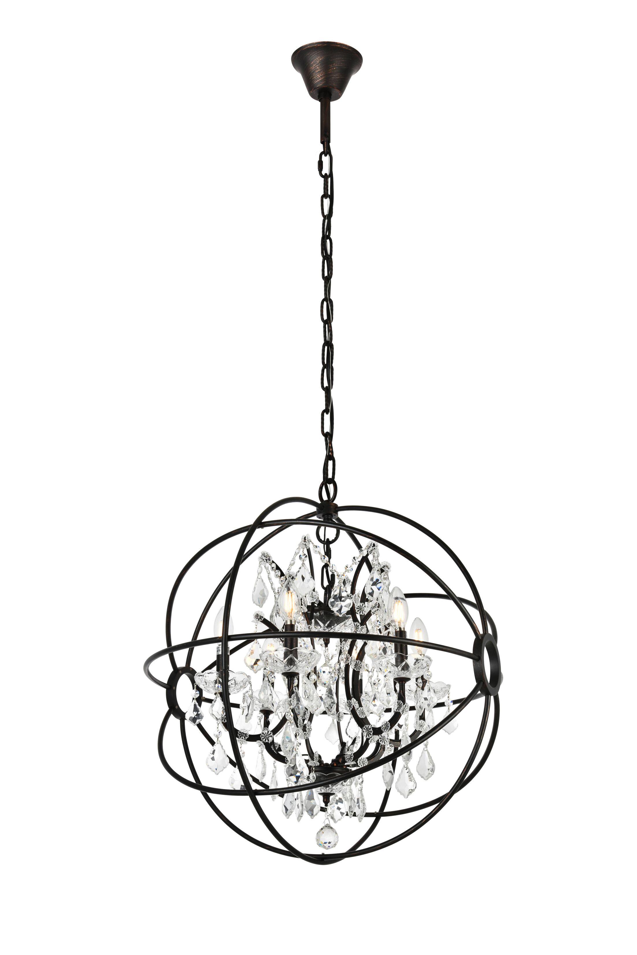 Svante 6-Light Globe Pendant Crystal: Silver Shade (Grey), Finish: Rustic Intent