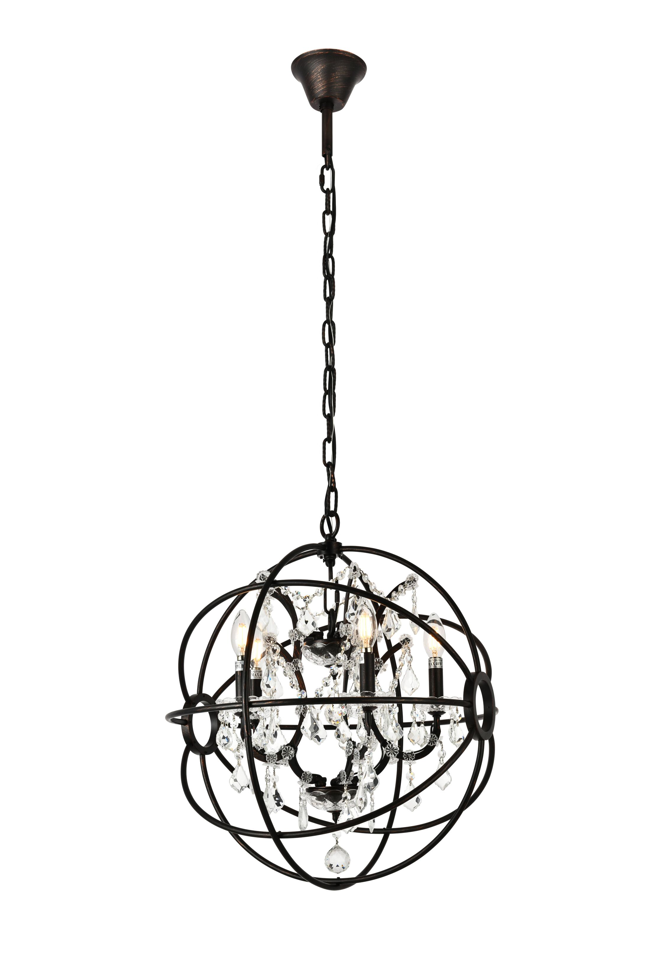 Svante 5-Light Globe Pendant Finish: Dark Bronze, Crystal: Crystal (Clear)