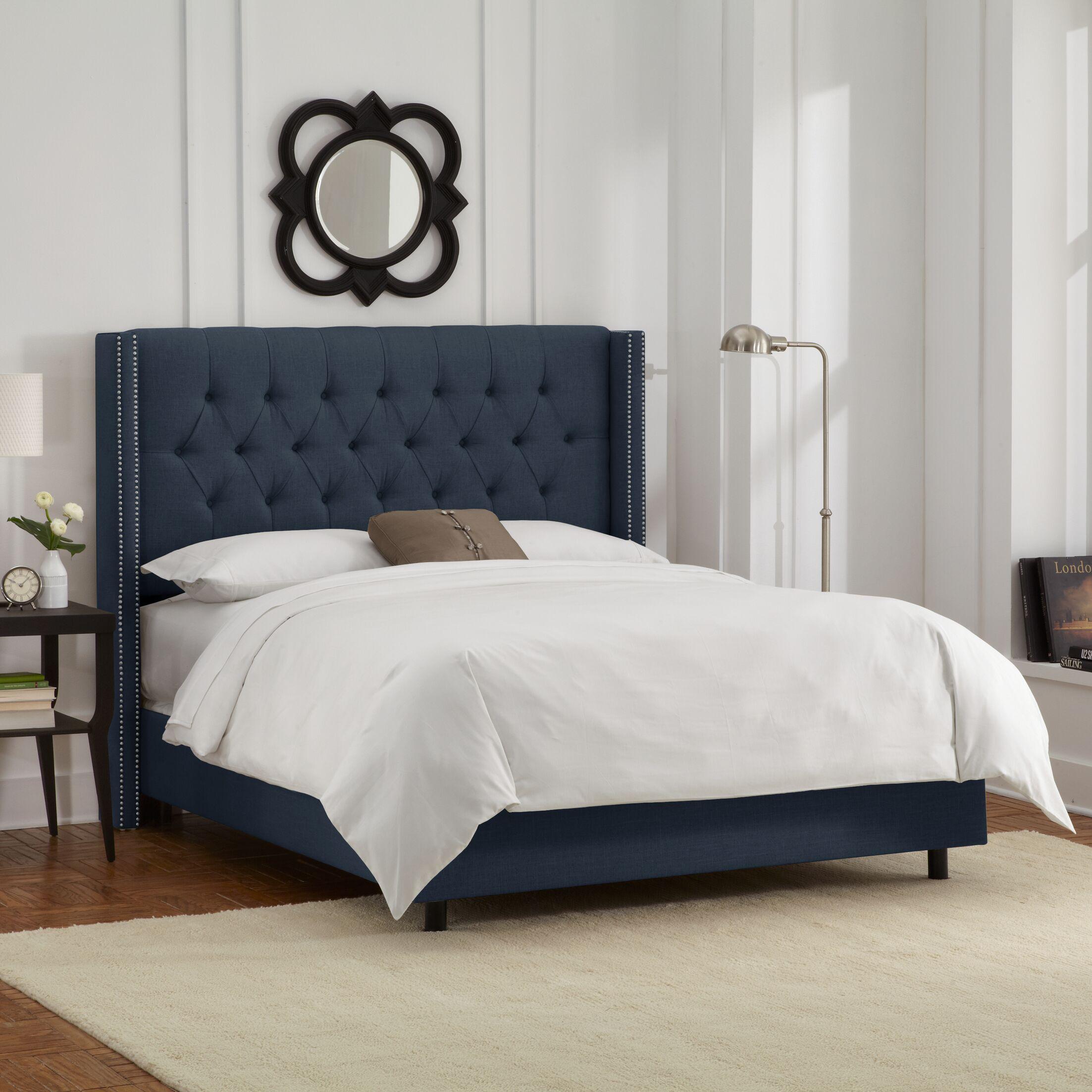 Davina Upholstered Panel Bed Size: Full, Color: Navy