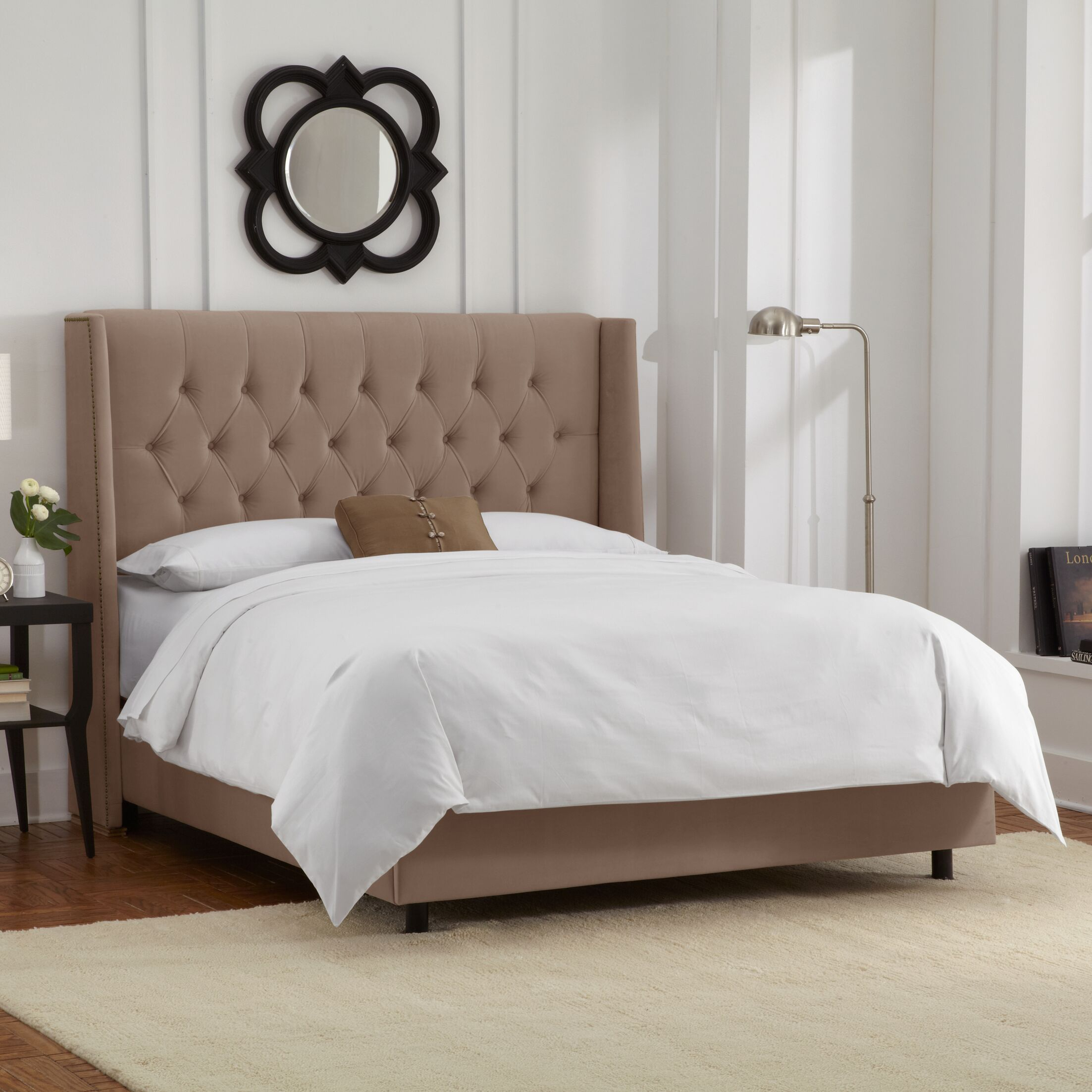 Florine Upholstered Panel Bed Size: California King, Color: Velvet - Cocoa
