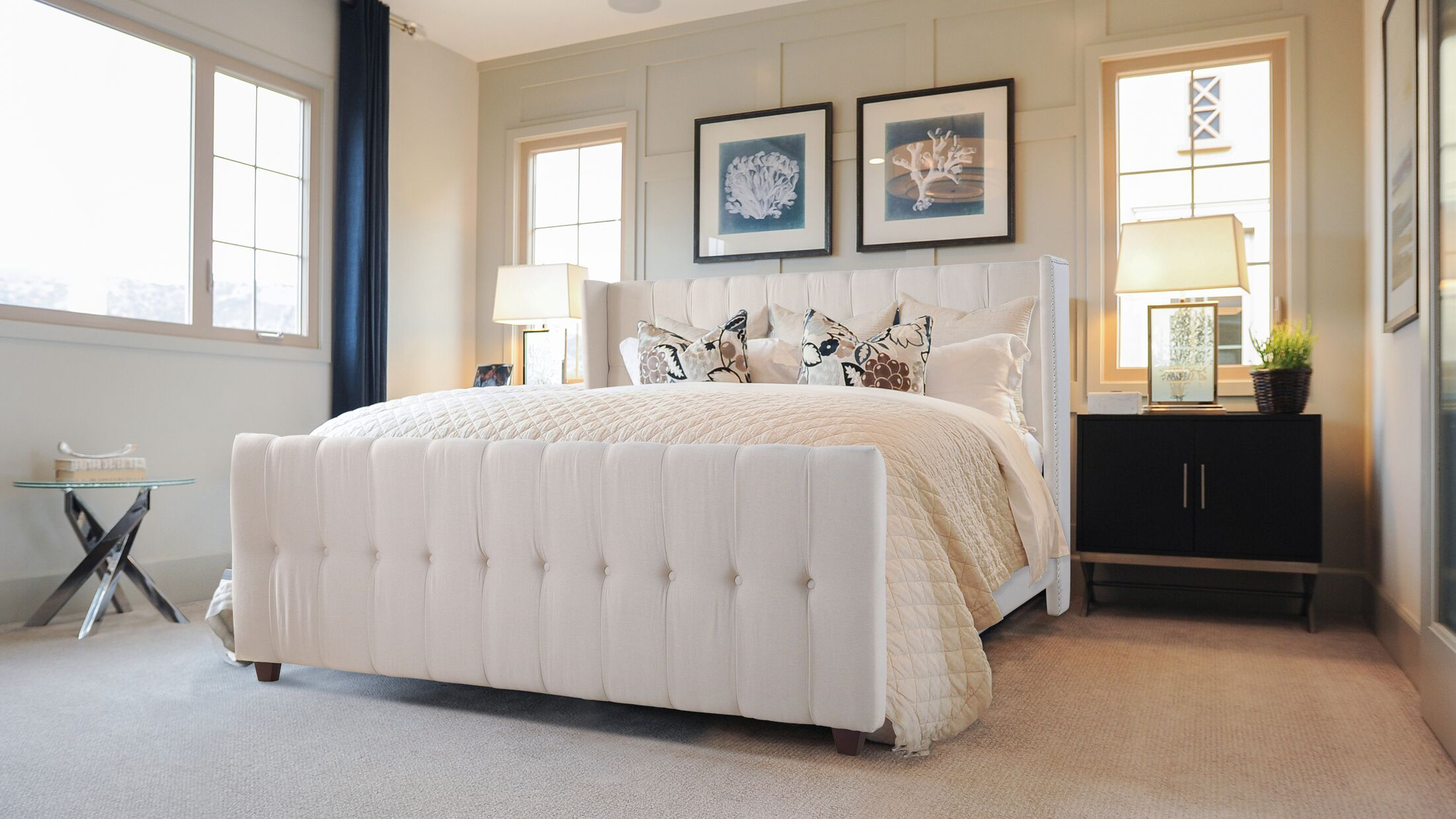 Jacobs Queen Upholstered Panel Bed Color: Oyster Gray, Size: King