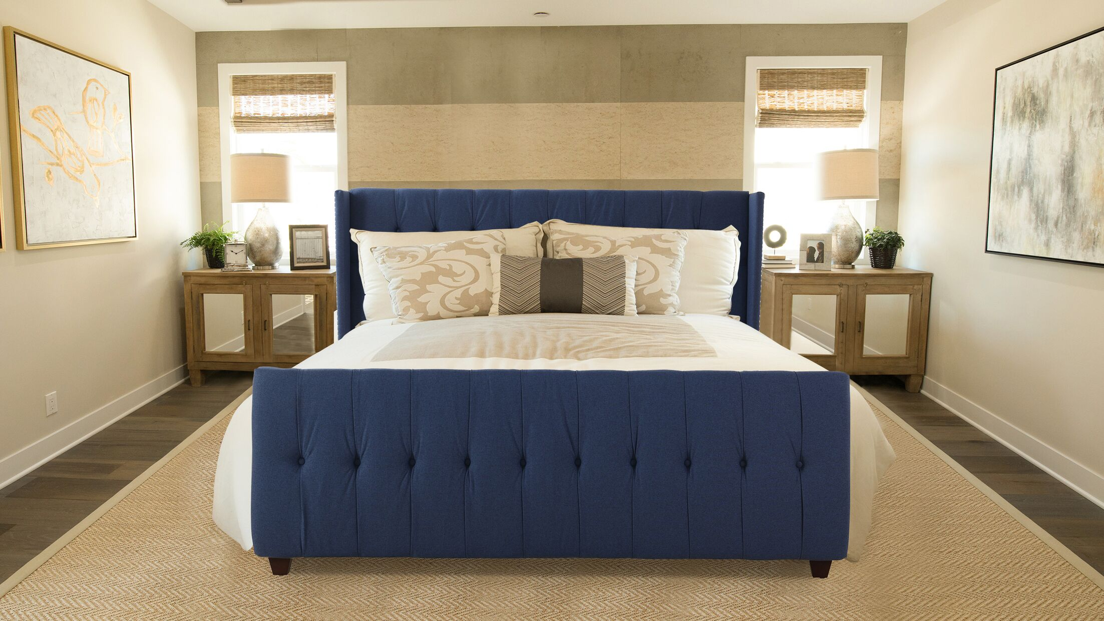 Jacobs Queen Upholstered Panel Bed Color: Graystone, Size: King