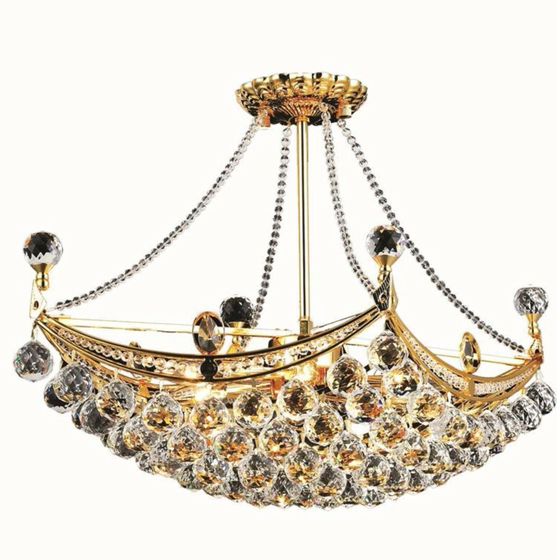 Kasha 6-Light Chandelier Finish: Gold, Crystal: Strass Swarovski