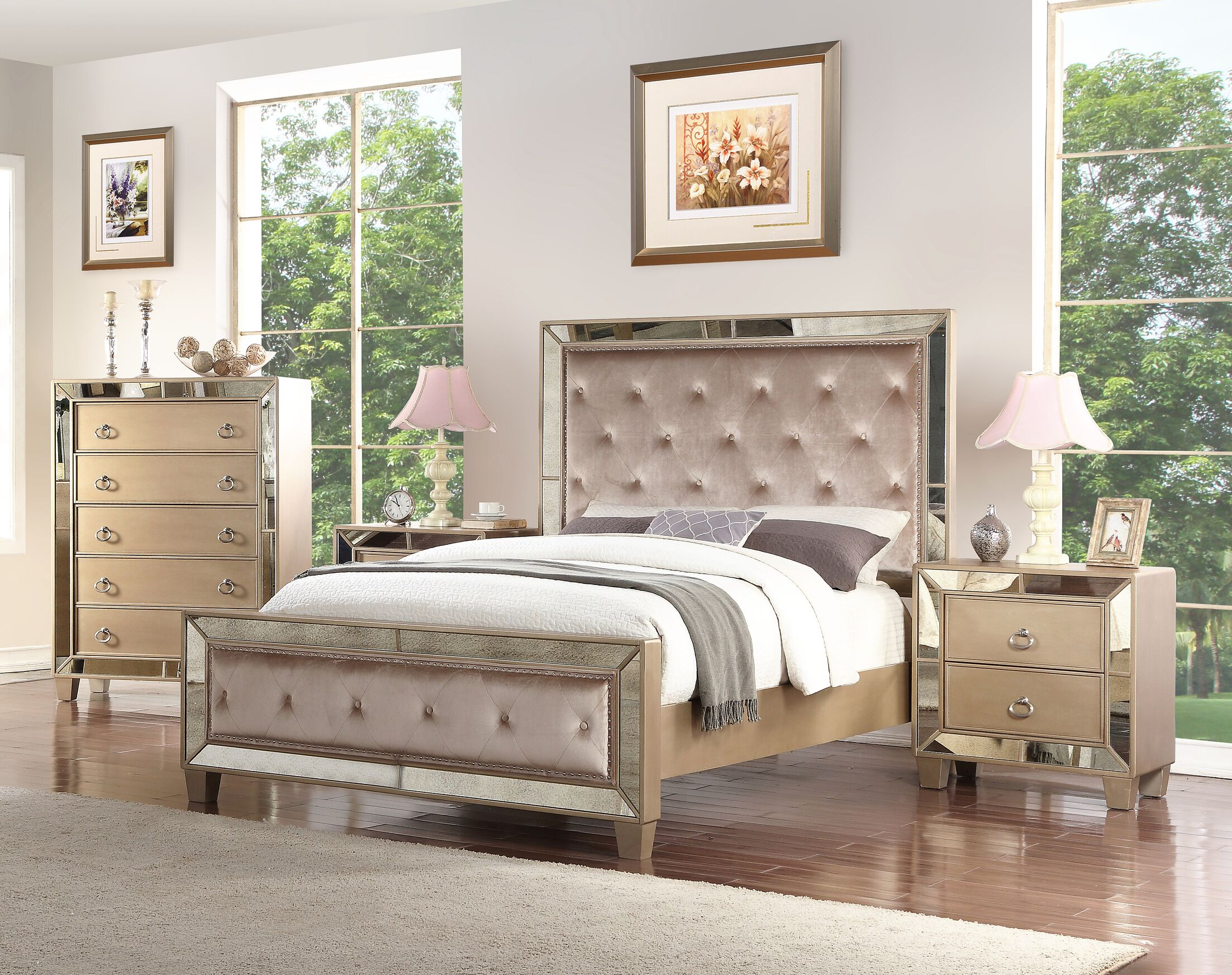 Alasdair Mirrored Tufted Platform 4 Piece Bedroom Set Size: California King
