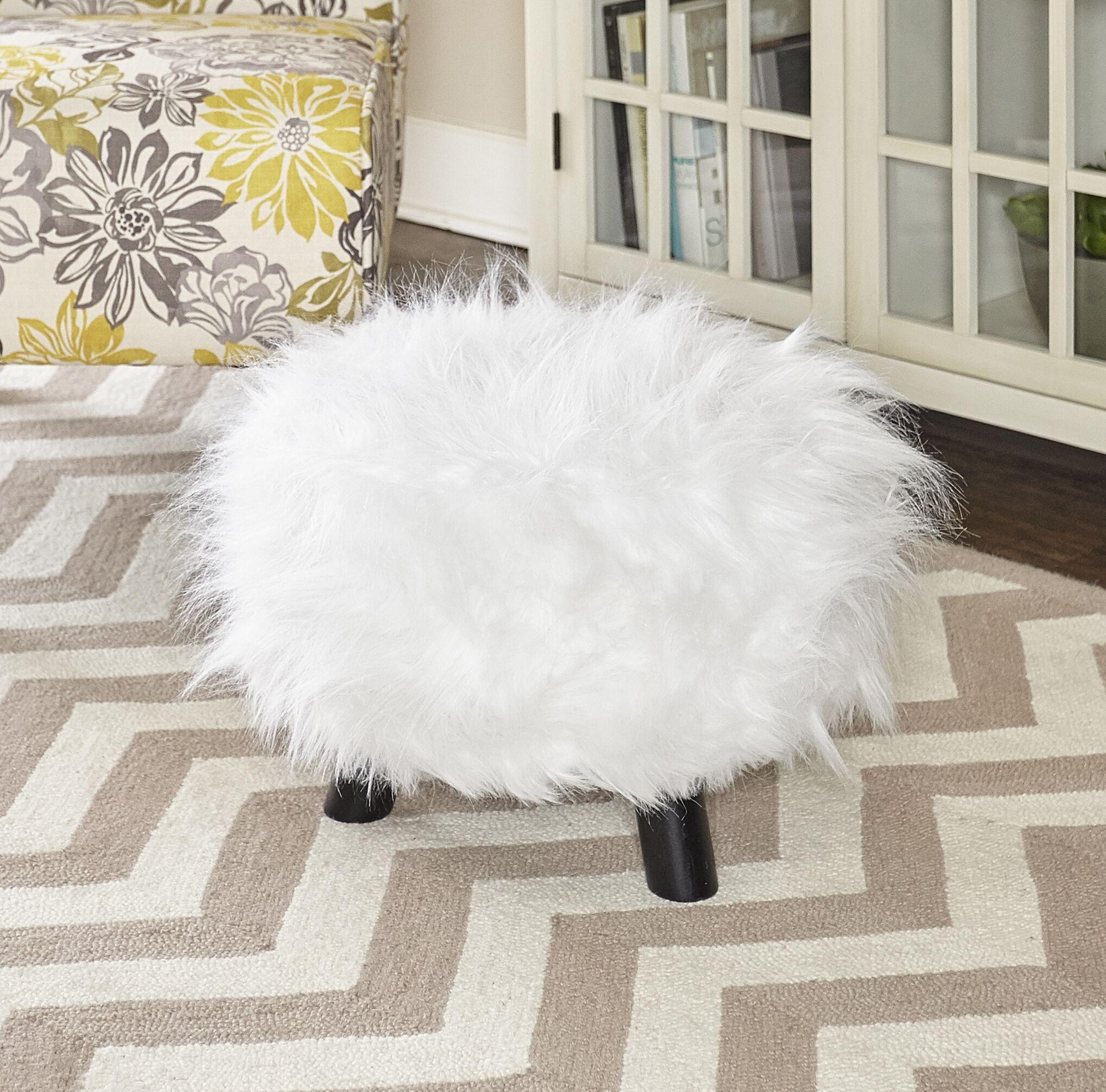 Keomi Flokati Ottoman Upholstery: White