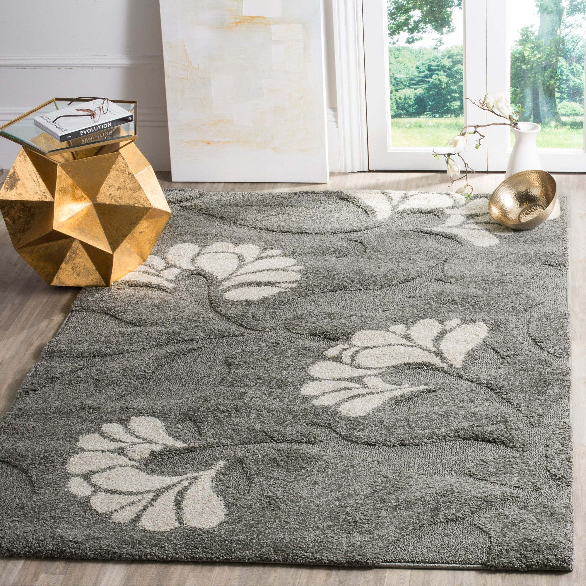 Marybell Gray/Beige Area Rug Rug Size: Rectangle 5'3