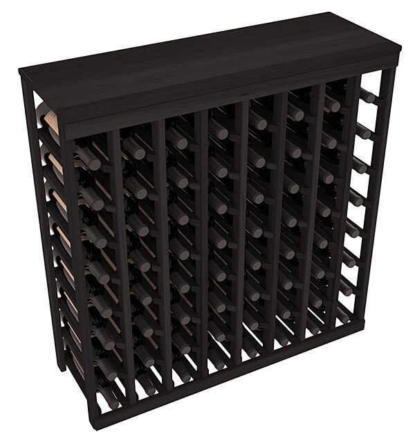 Karnes Redwood Table Top 64 Bottle Floor Wine Rack Finish: Black