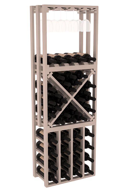 Karnes Pine Lattice Stacking Cube 45 Bottle Floor Wine Rack Finish: Gray Satin