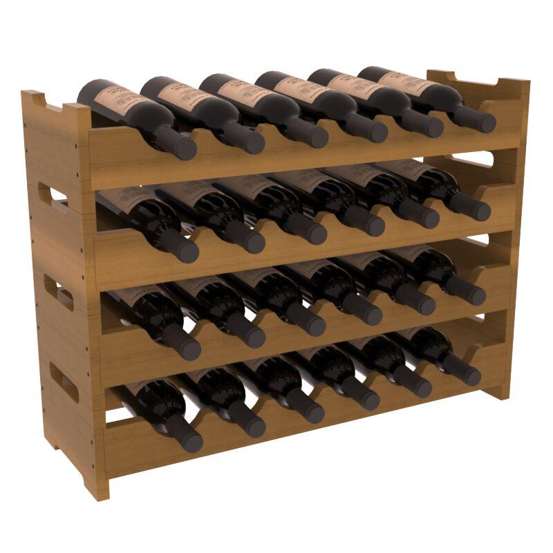 Karnes Redwood Mini Scalloped 24 Bottle Tabletop Wine Rack Finish: Oak Satin