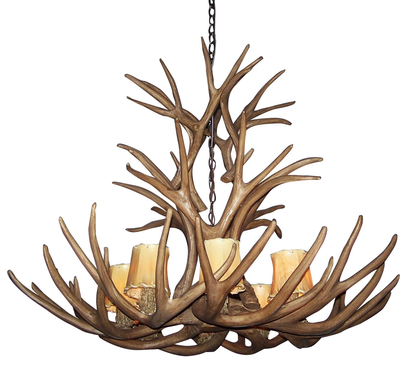 Attwood Antler Mule Deer Cascade 8-Light We have associated to option Chandelier Shade Color: Parchment, Finish: Rustic Bronze/Brown, Shade Included: Yes
