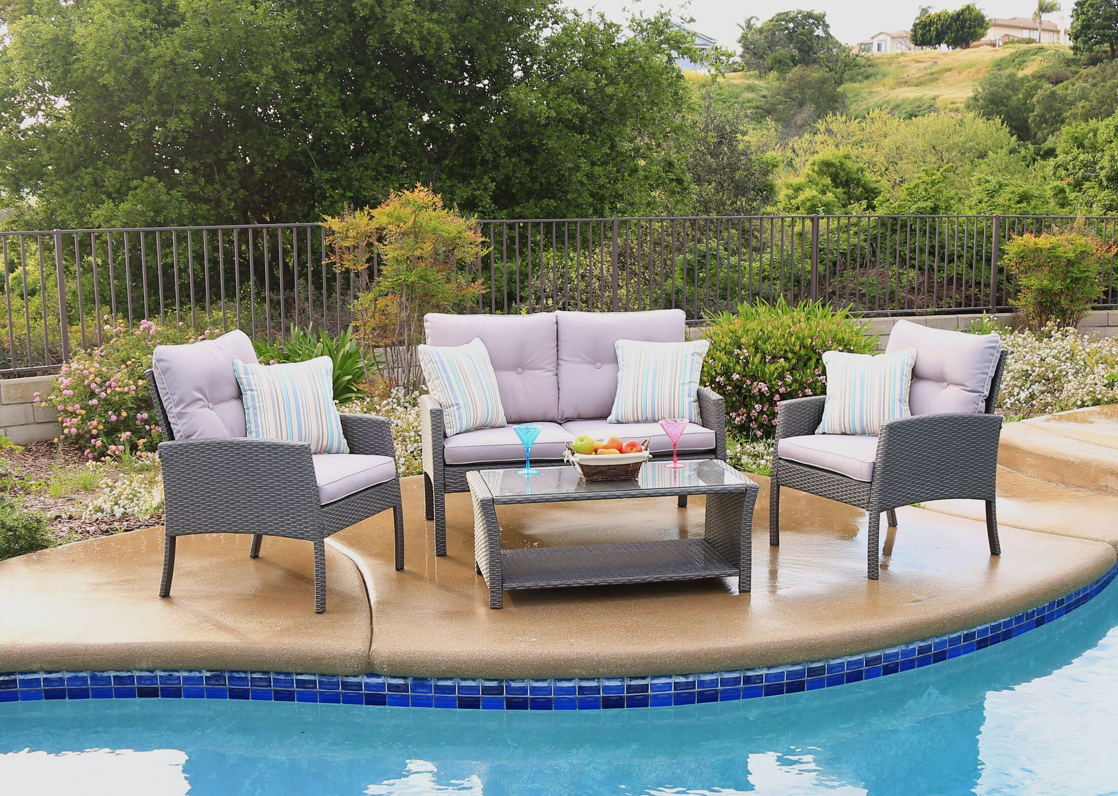 Pearl Street 4 Piece Sofa Seating Group with Cushions