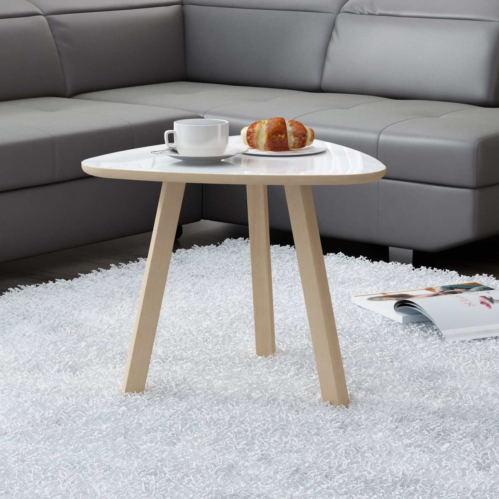 Blandford Natural Coffee Table Top Color: Gloss White